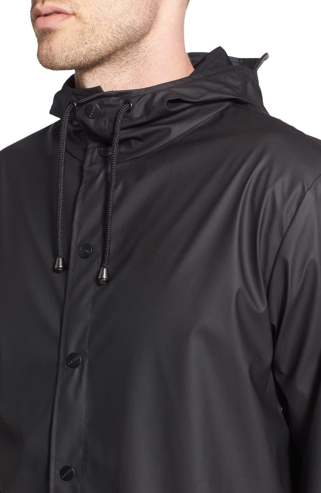 Lightweight Hooded Rain Jacket,                             Alternate thumbnail 4, color,                             BLACK