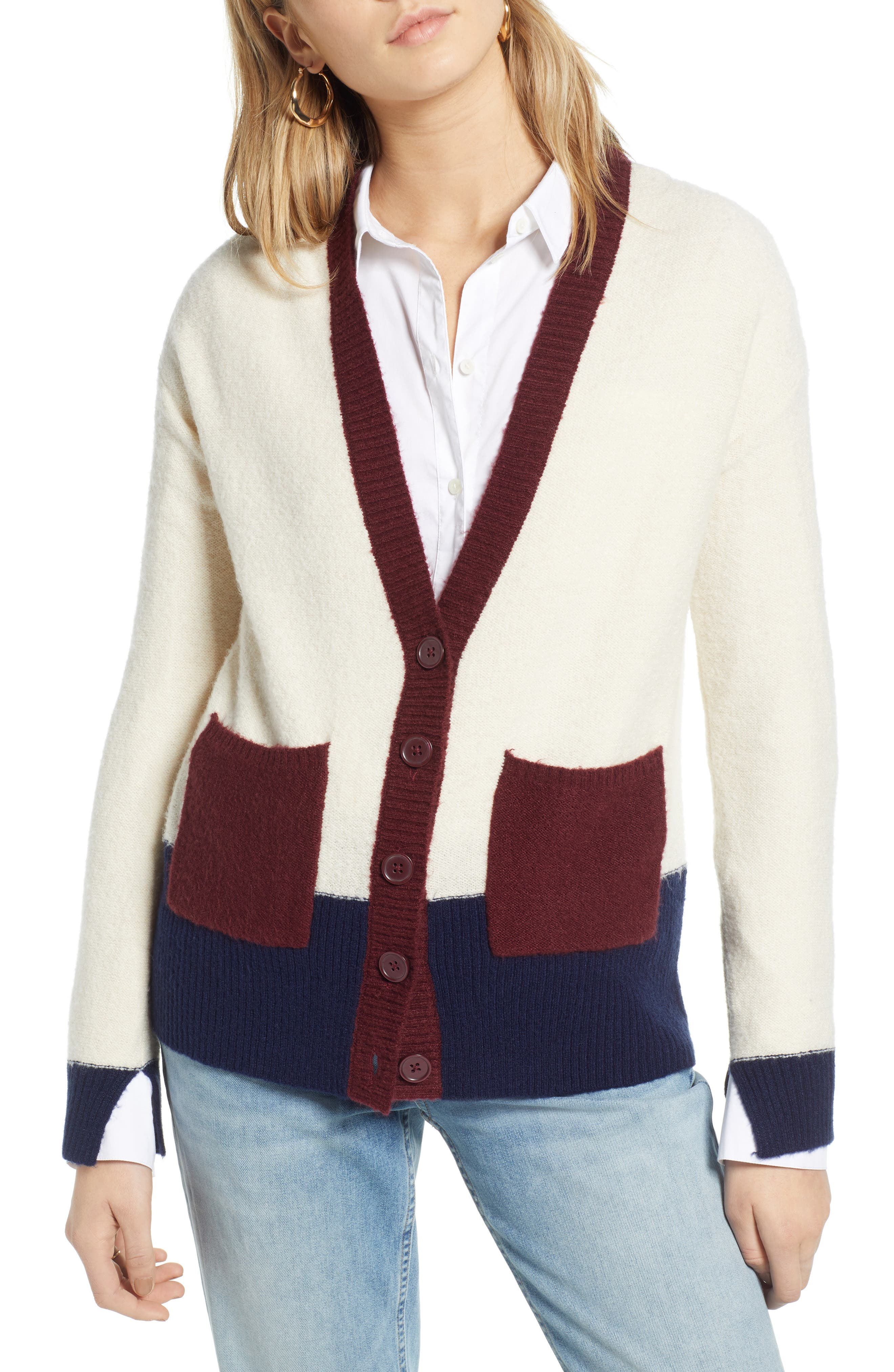 Colorblock V-Neck Cardigan,                             Alternate thumbnail 4, color,                             BEIGE OATMEAL LIGHT HEATHER