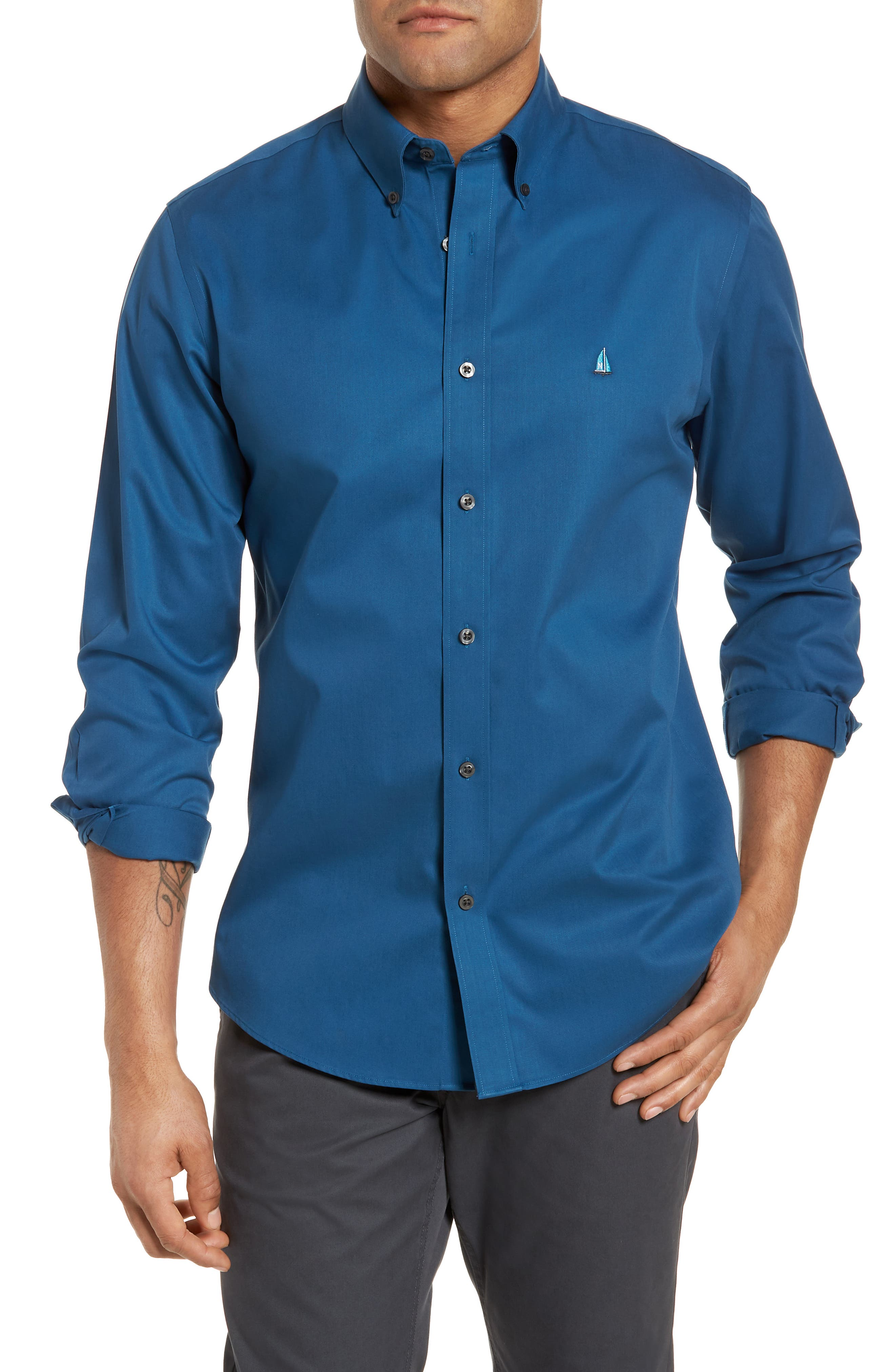 Smartcare<sup>™</sup> Traditional Fit Twill Boat Shirt,                             Main thumbnail 1, color,                             BLUE DARK