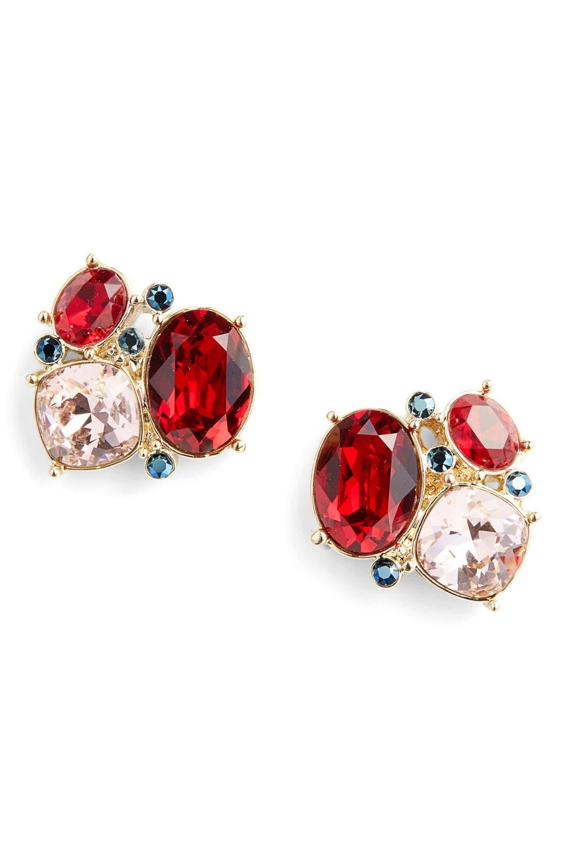 ST. JOHN COLLECTION,                             Swarovski Crystal Cluster Earrings,                             Main thumbnail 1, color,                             710