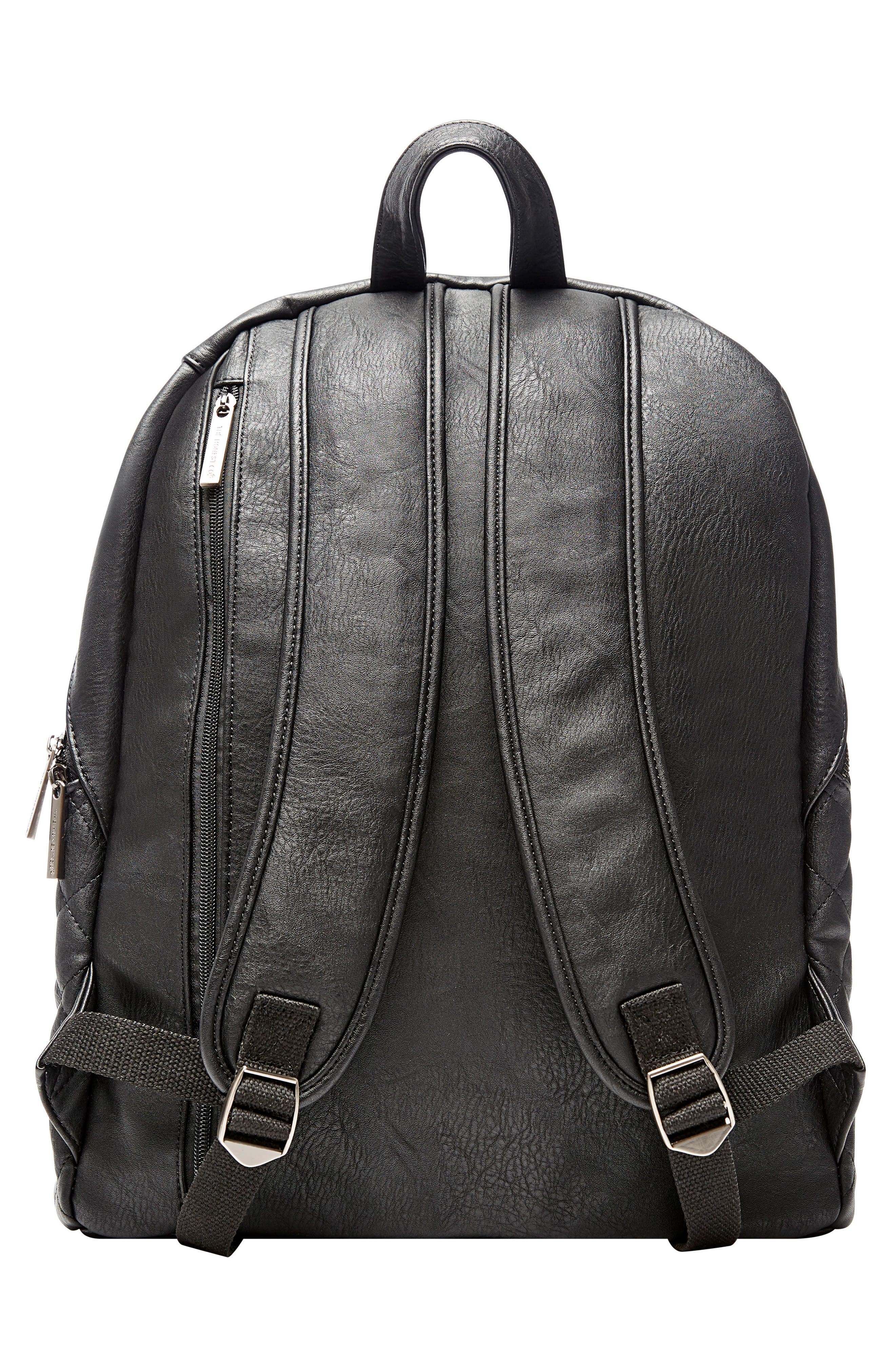 City Quilted Faux Leather Diaper Backpack,                             Alternate thumbnail 3, color,                             001