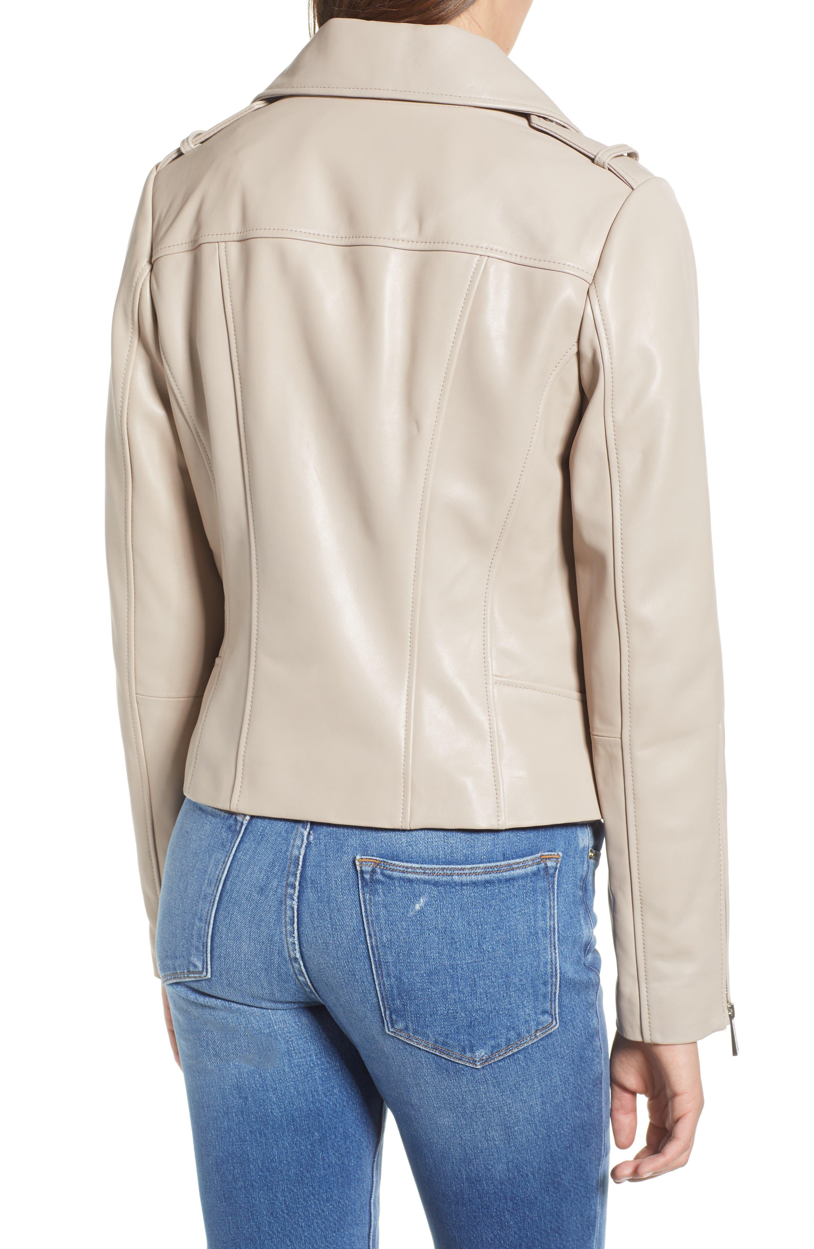 Classic Leather Moto Jacket,                             Alternate thumbnail 4, color,