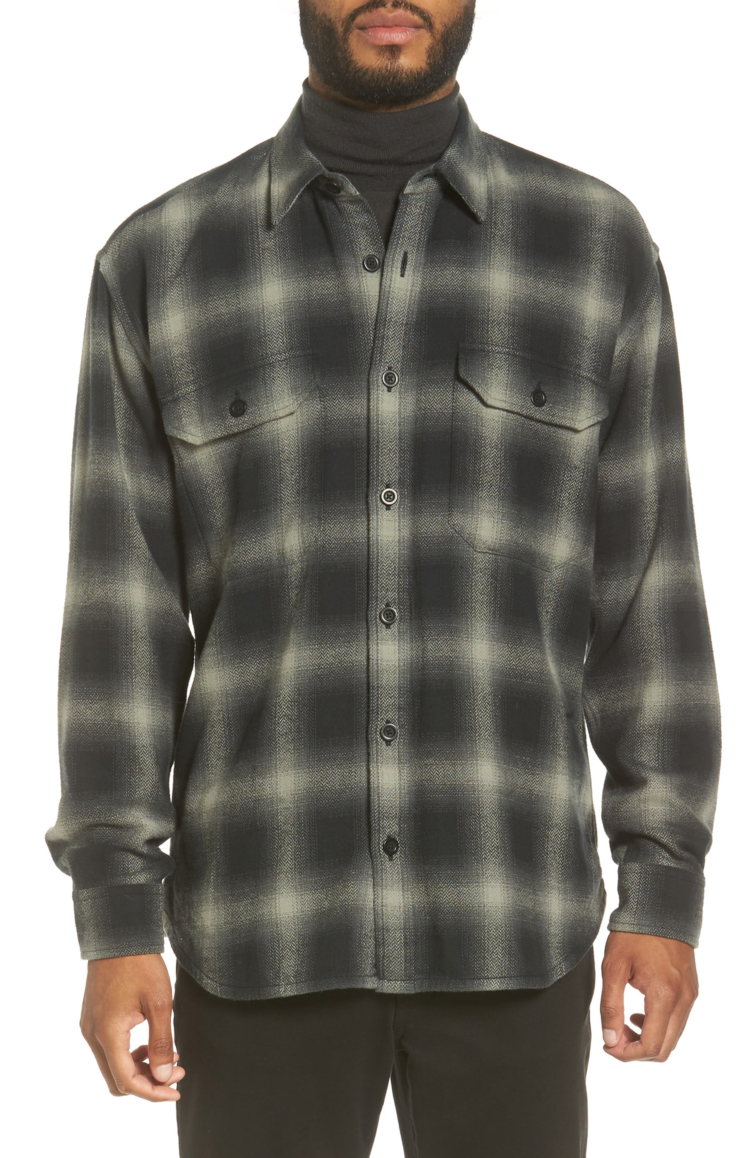 Ombré Buffalo Plaid Sport Shirt,                         Main,                         color, 020