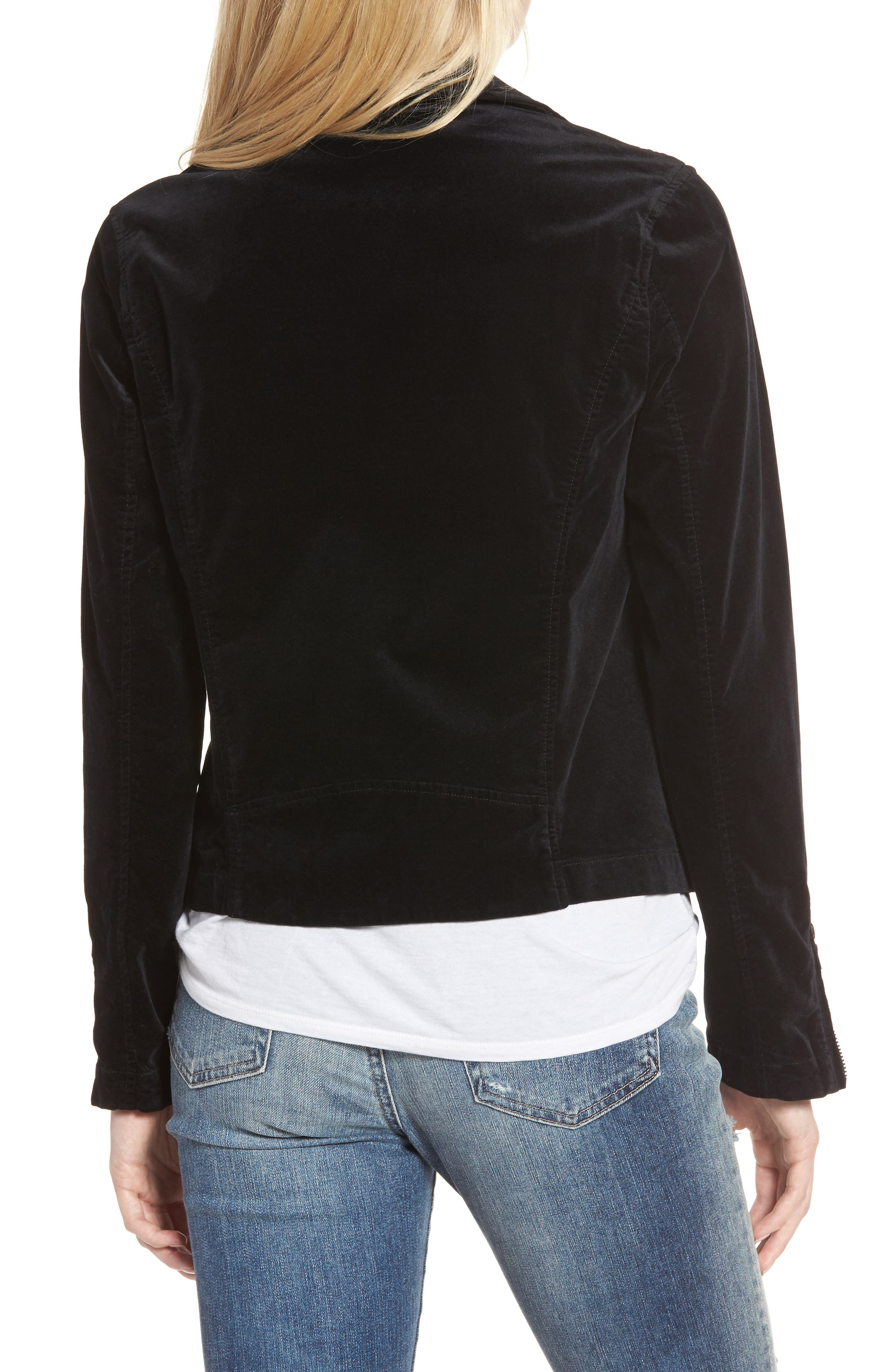 Quincy Velvet Biker Jacket,                             Alternate thumbnail 2, color,                             001