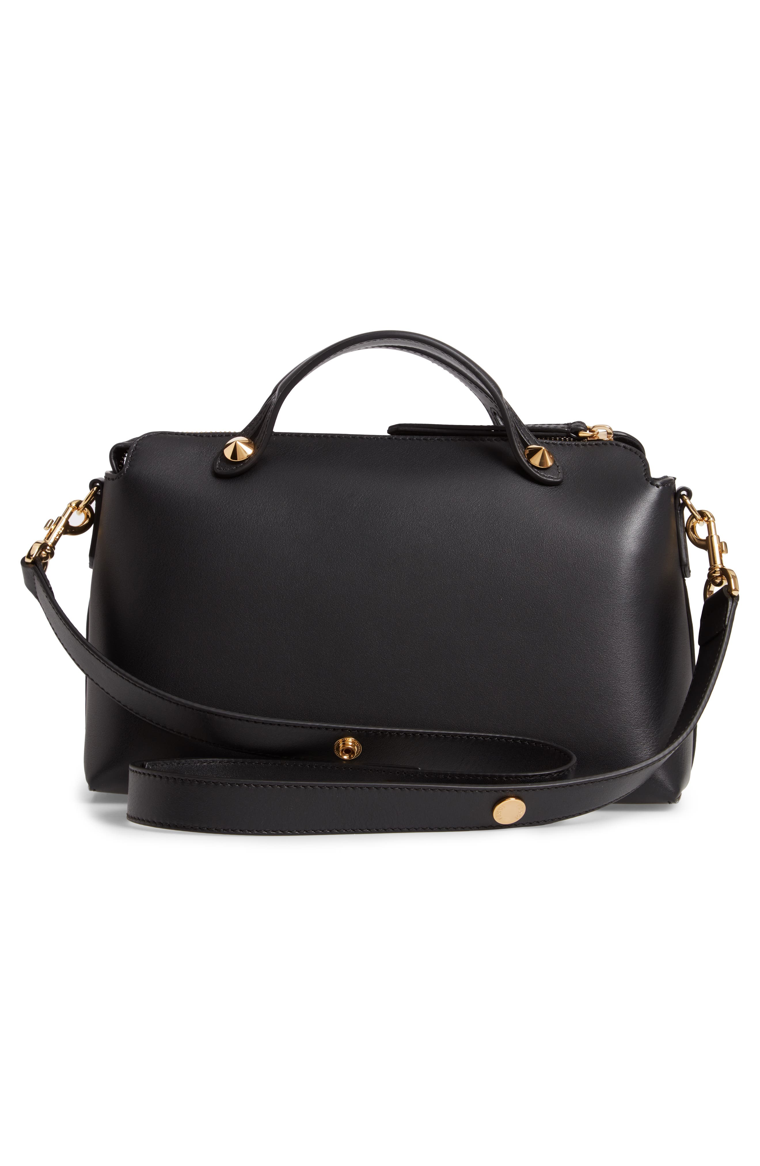 By the Way - Wonders Convertible Leather Shoulder Bag,                             Alternate thumbnail 3, color,                             NERO/ ORO SOFT