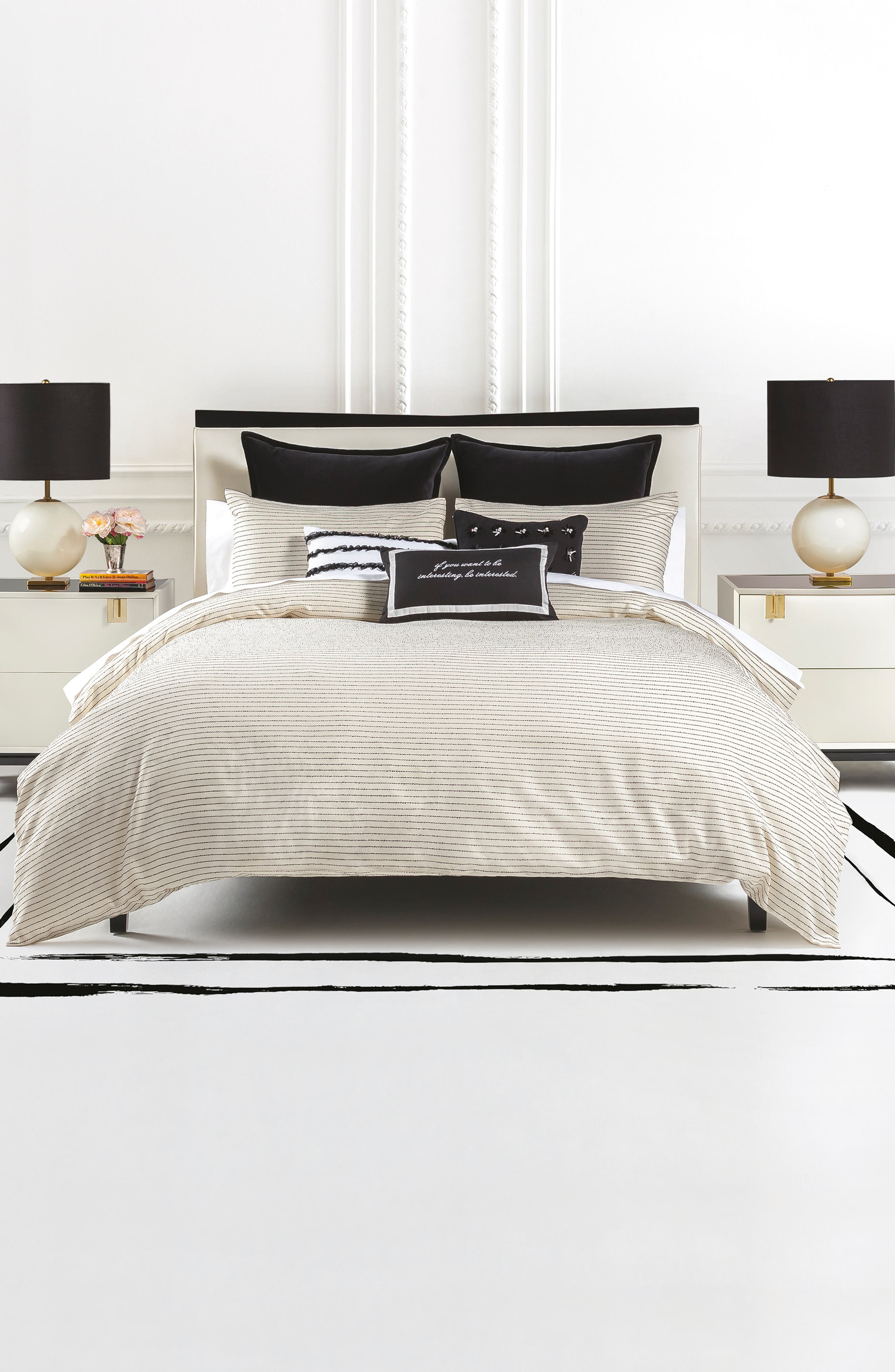 bouclé comforter & sham set,                             Main thumbnail 1, color,                             CREAM/ BLACK