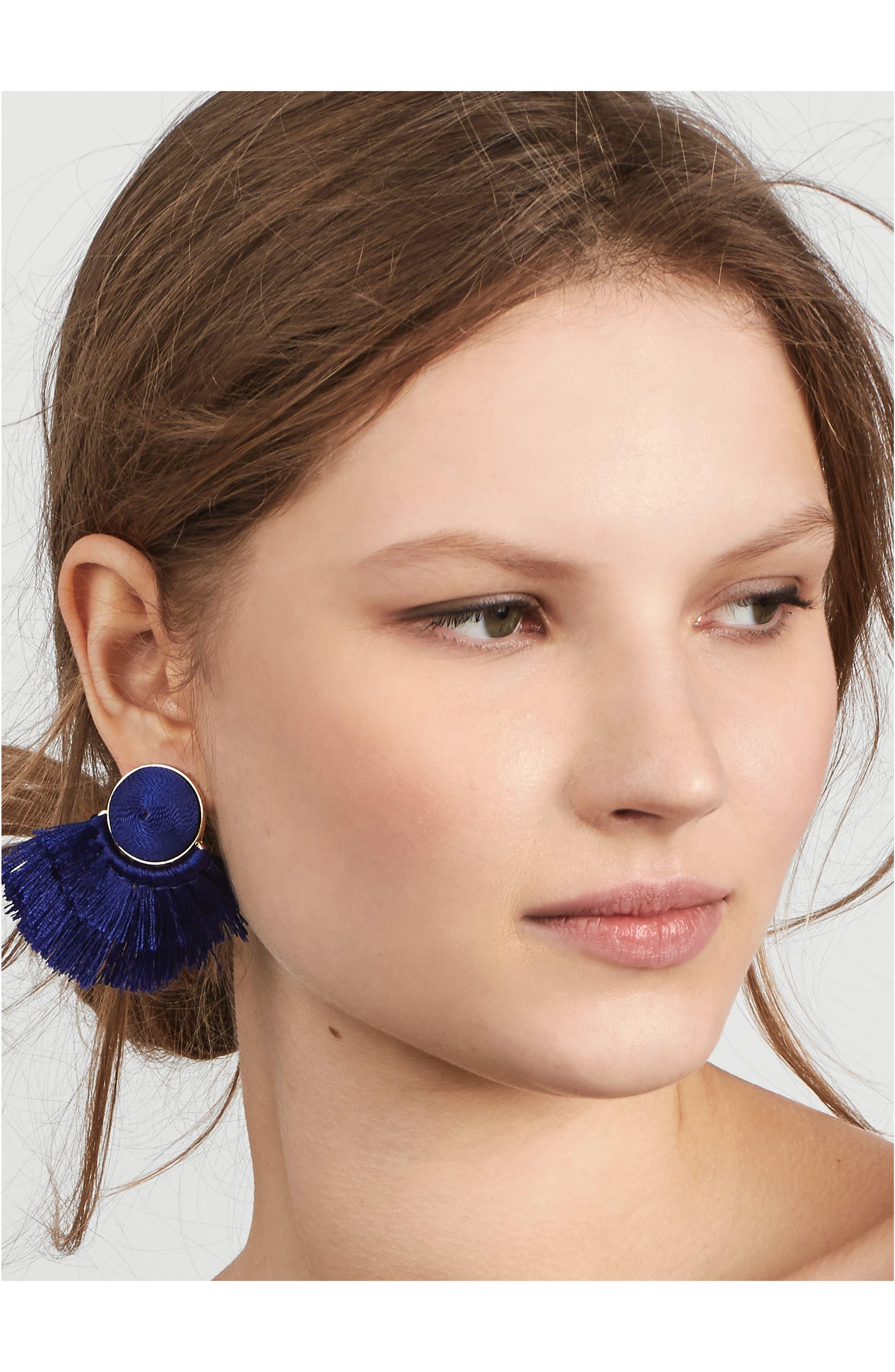 Martina Chubby Deco Fringe Drop Earrings,                             Alternate thumbnail 2, color,                             400