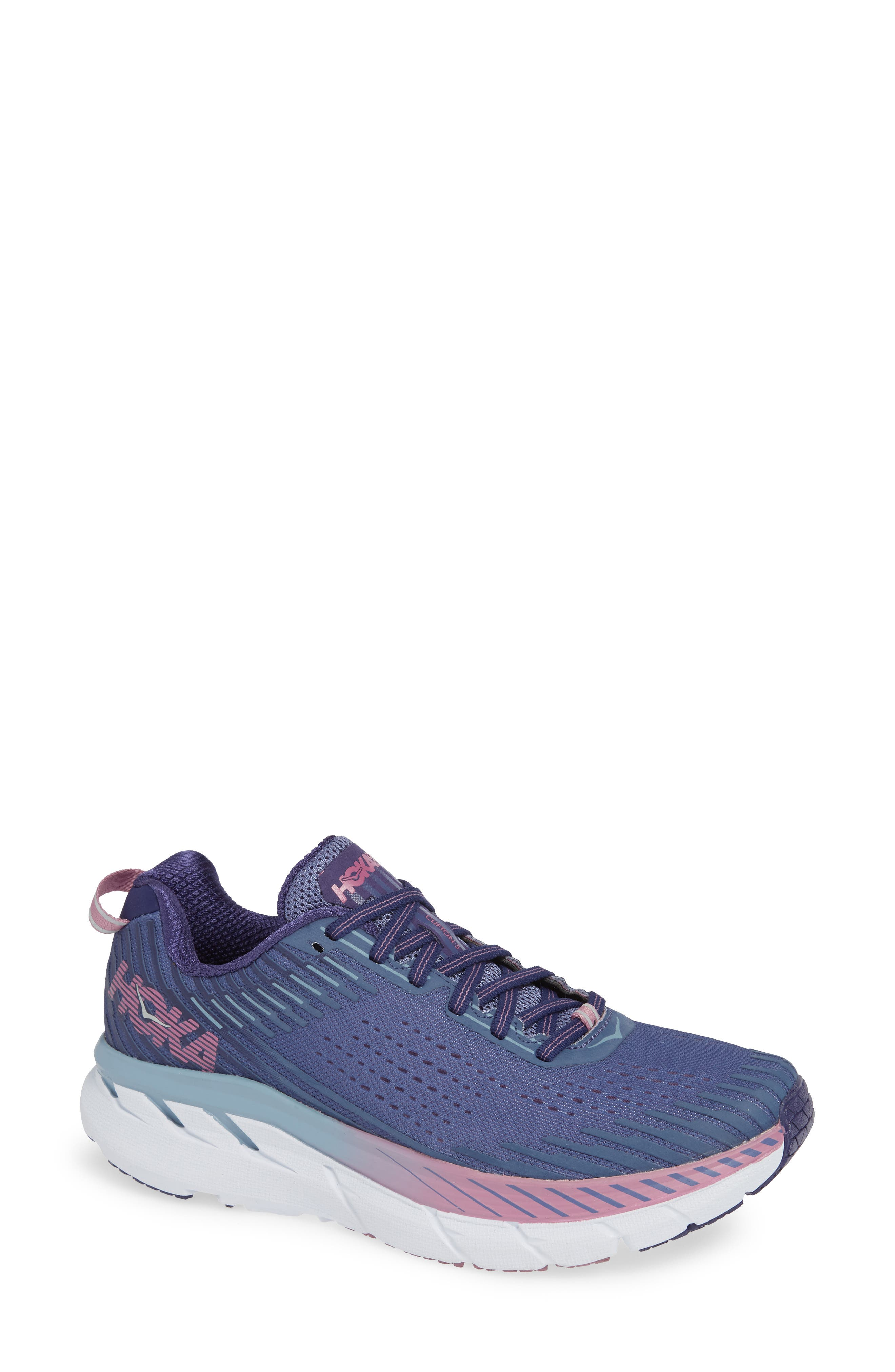 HOKA ONE ONE Clifton 5 Running Shoe in Marlin/ Blue Ribbon