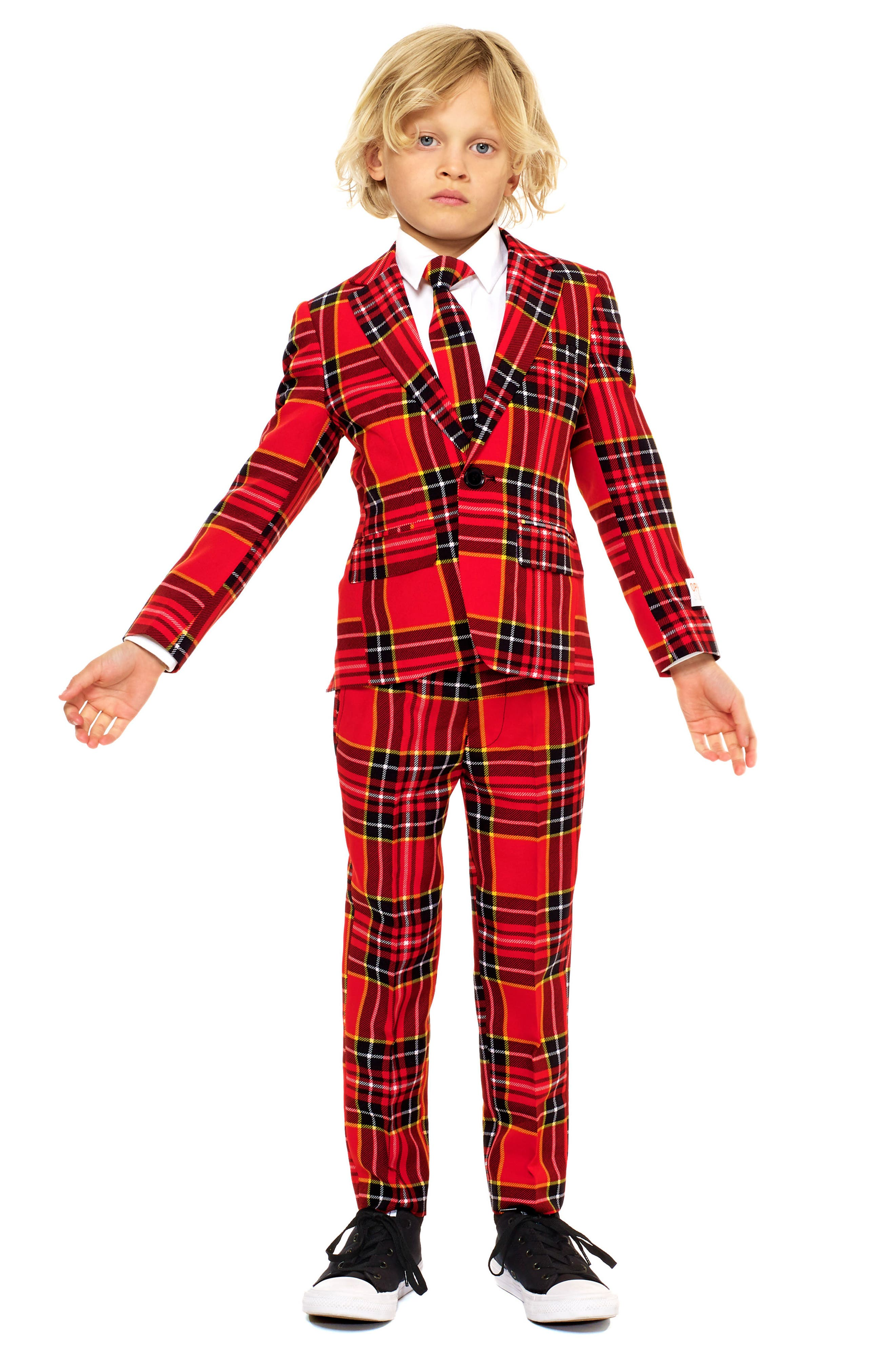 Lumberjack Two-Piece Suit with Tie,                         Main,                         color, RED