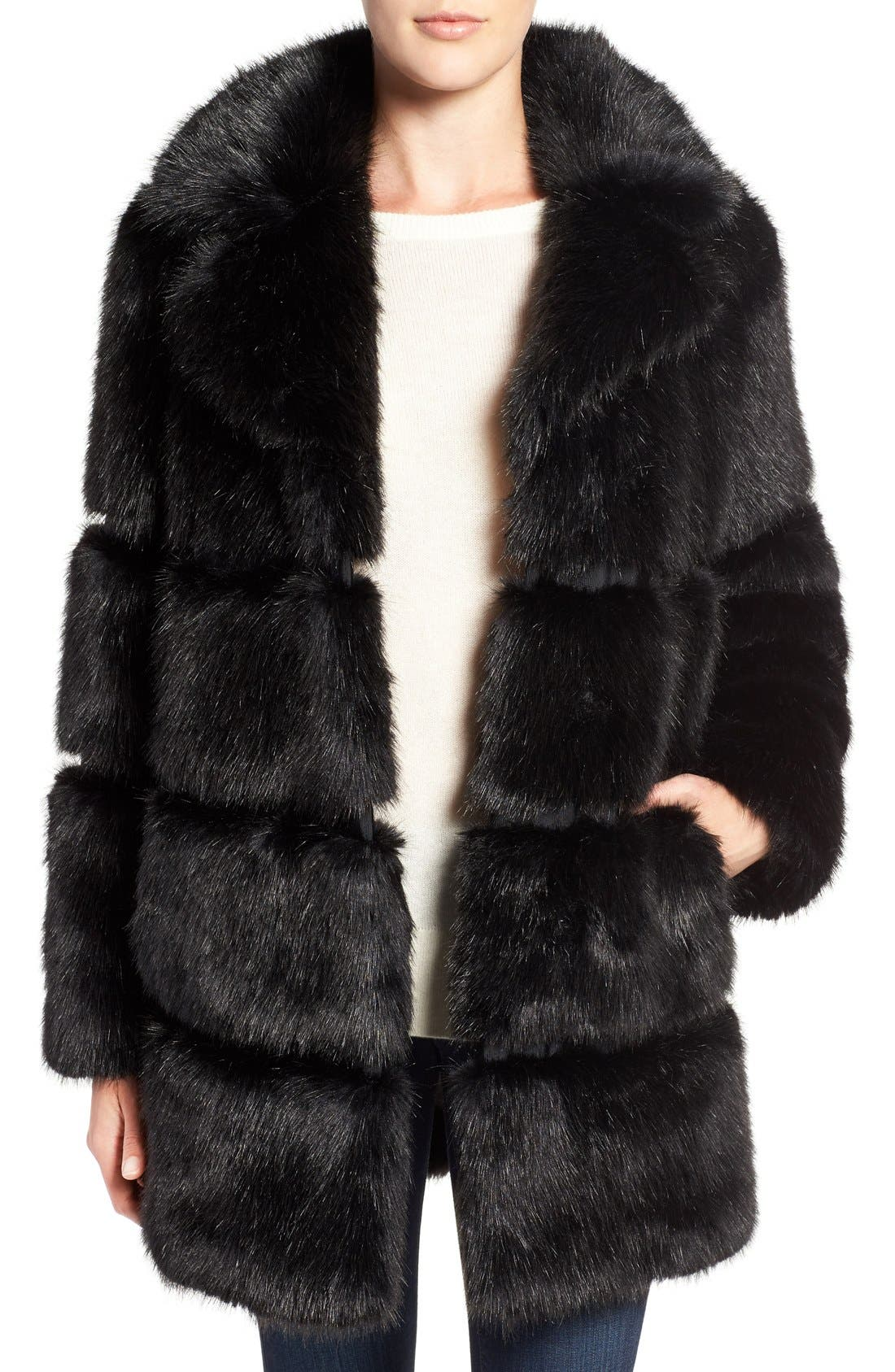 grooved faux fur coat,                             Main thumbnail 1, color,                             001