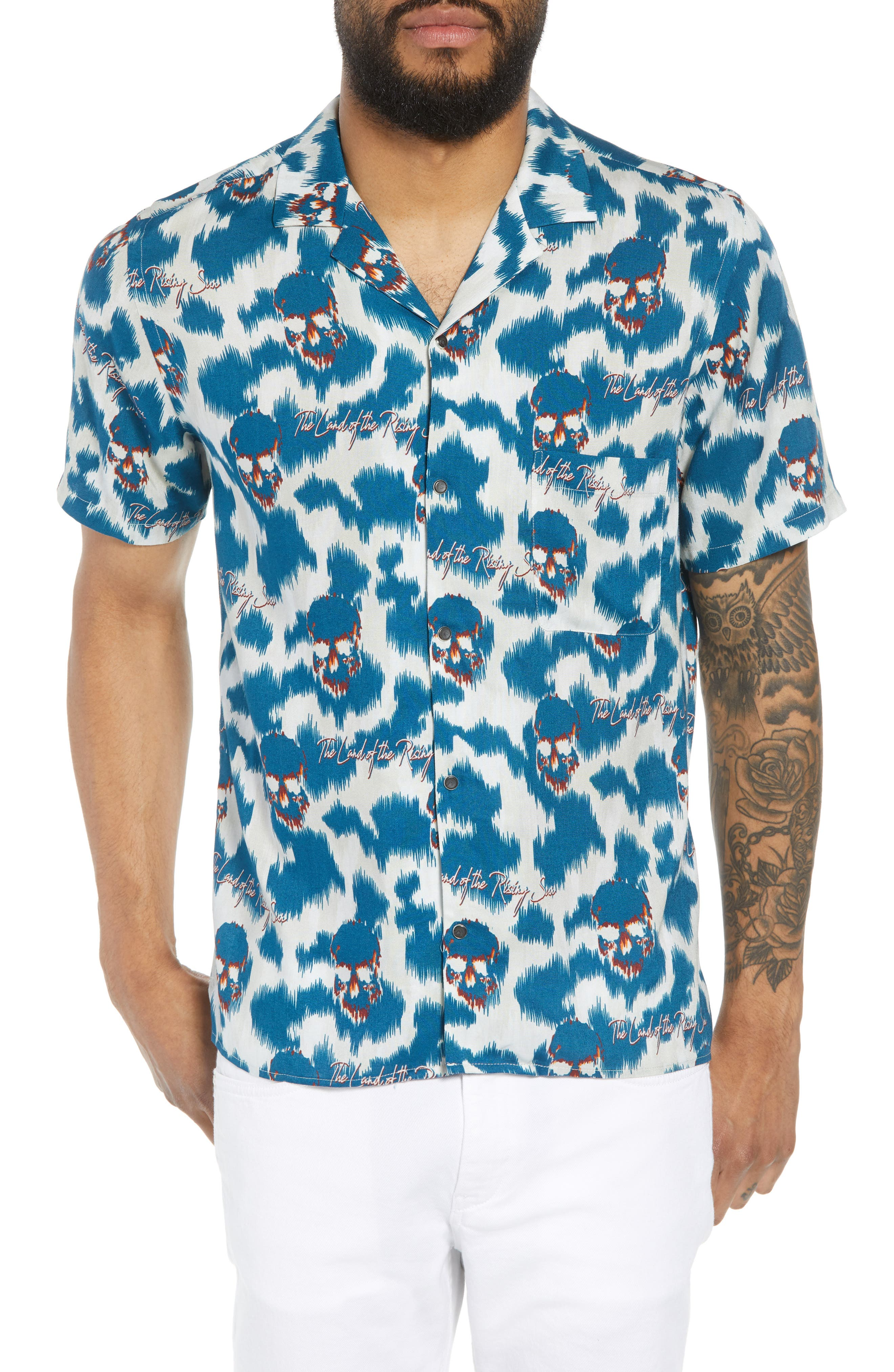 THE KOOPLES,                             Regular Fit Hawaiian Shirt,                             Main thumbnail 1, color,                             400