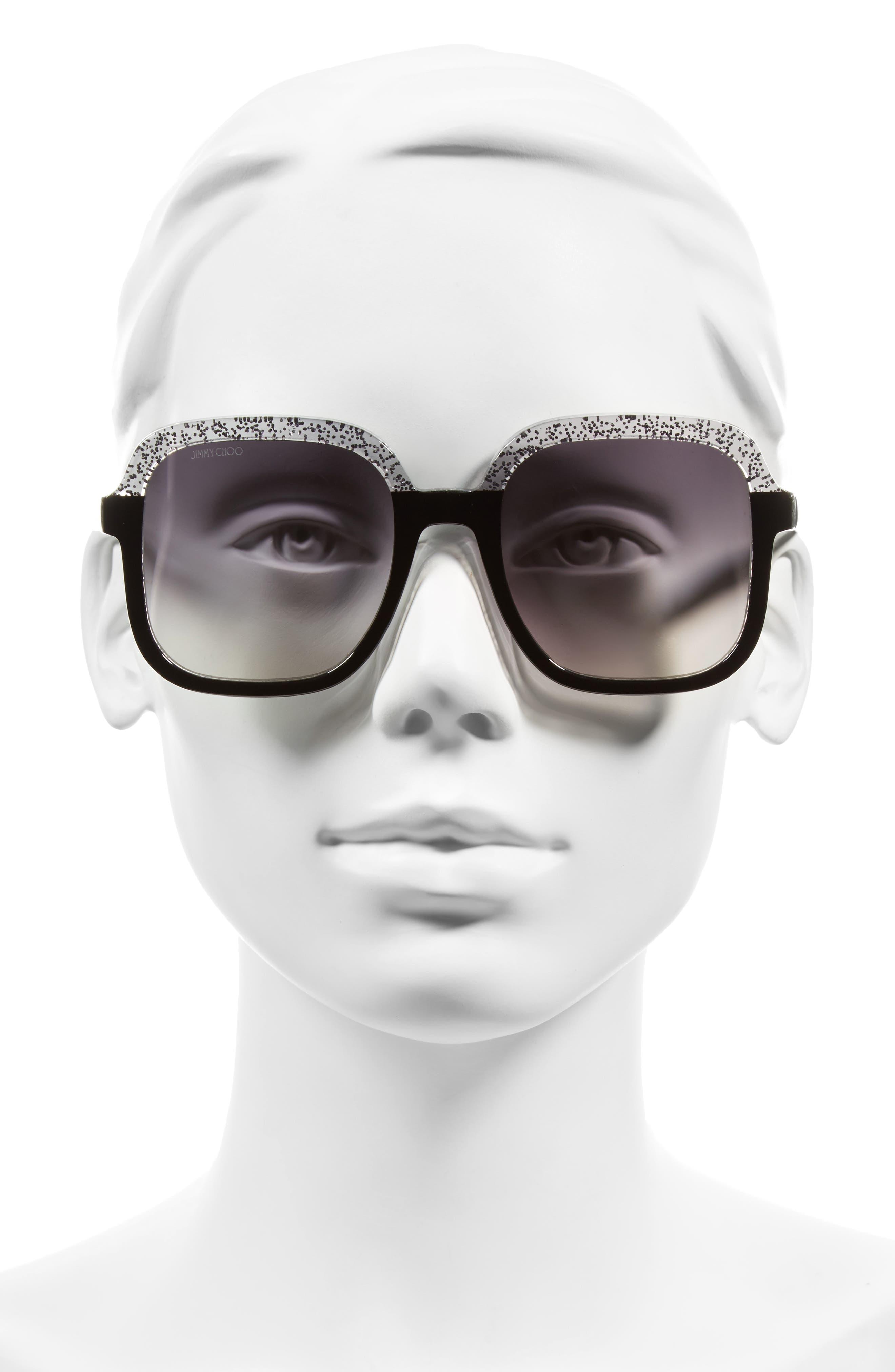 53mm Glitter Frame Sunglasses,                             Alternate thumbnail 3, color,                             001