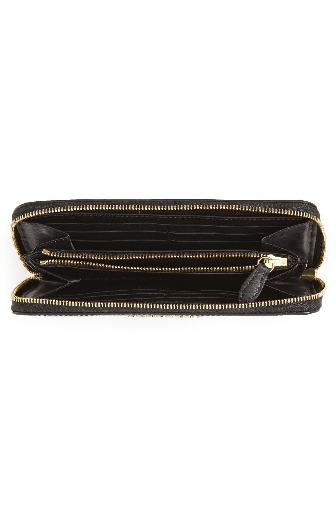 BURBERRY,                             'Elmore - London Leather' Zip Around Wallet,                             Alternate thumbnail 3, color,                             001