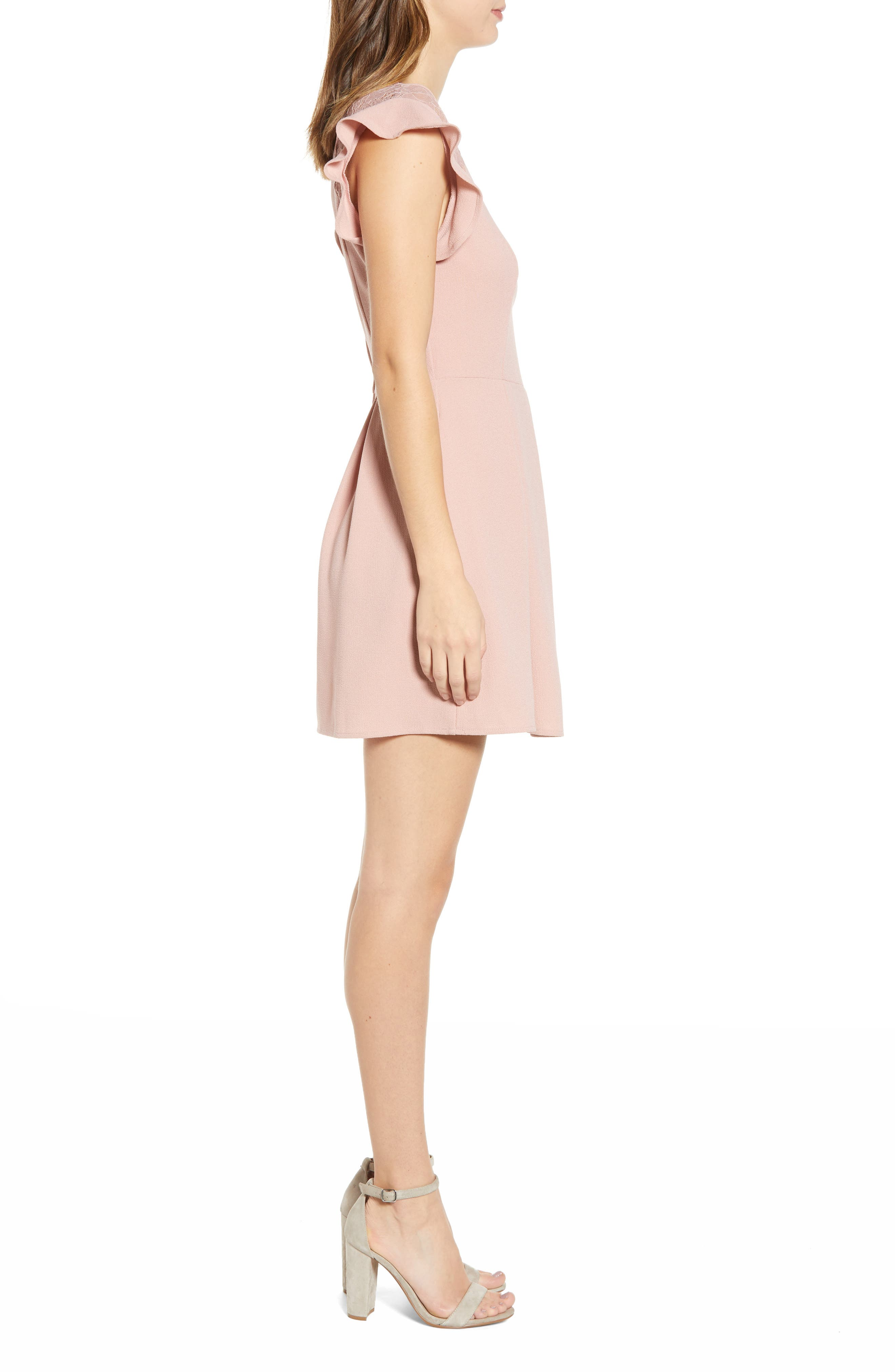 SPEECHLESS,                             Crepe Flutter Sleeve Fit & Flare Dress,                             Alternate thumbnail 3, color,                             ANTIQUE ROSE