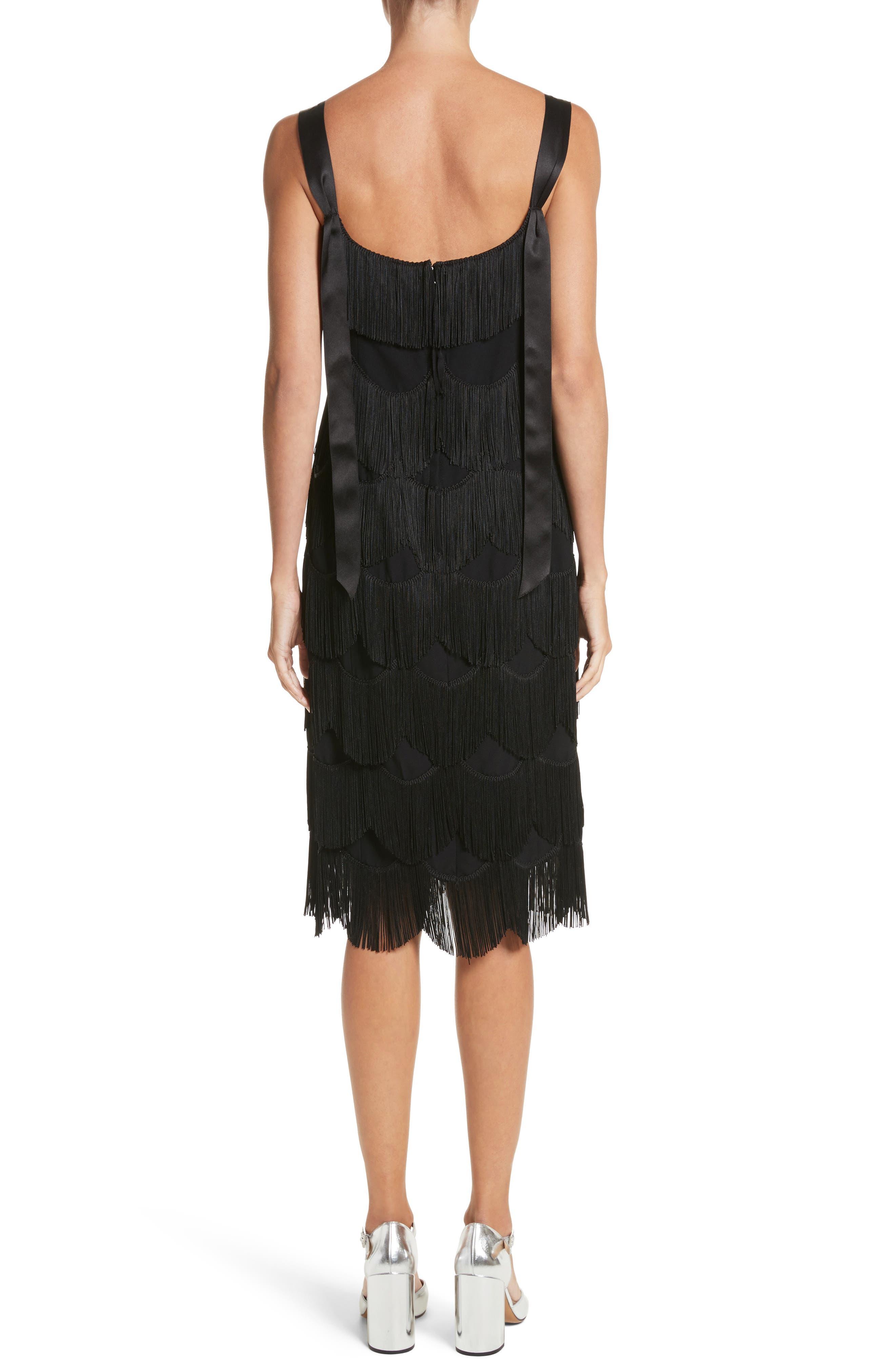 Scalloped Fringe Party Dress,                             Alternate thumbnail 2, color,                             001