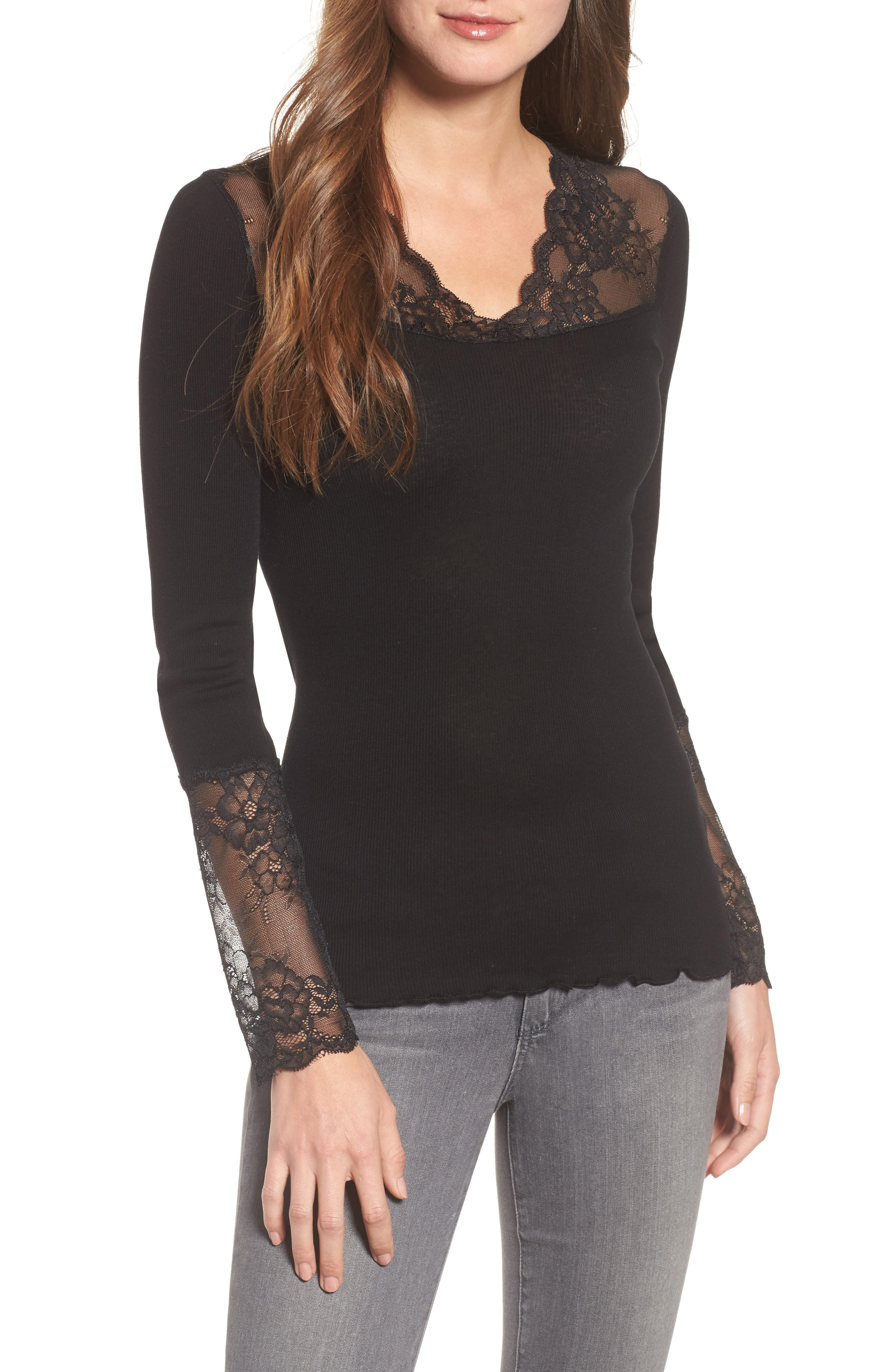 Brigit Lace Embellished Silk Blend Top,                             Main thumbnail 1, color,                             001