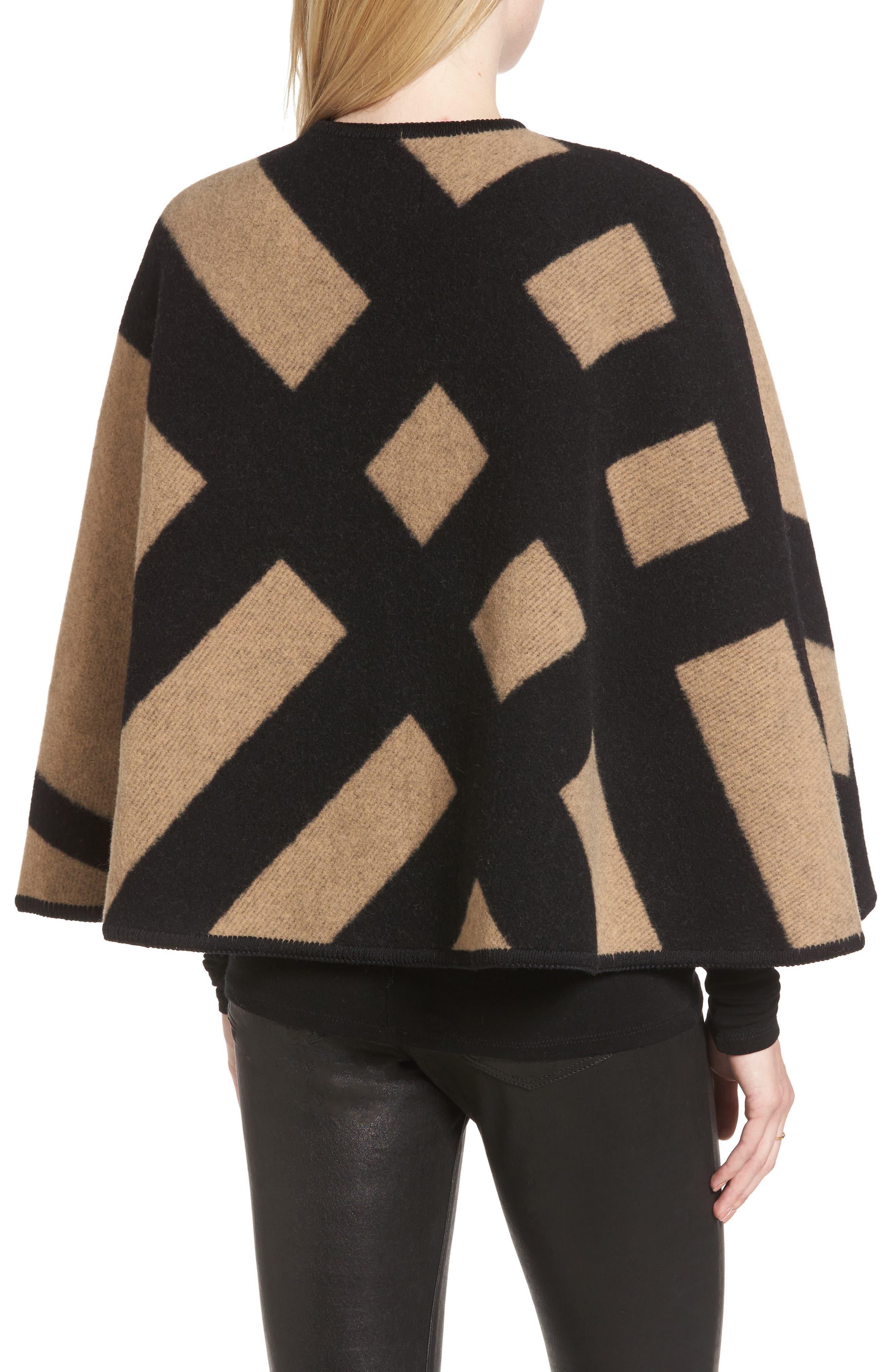 Blanket Check Wool & Cashmere Poncho,                             Alternate thumbnail 2, color,                             CAMEL/ BLACK