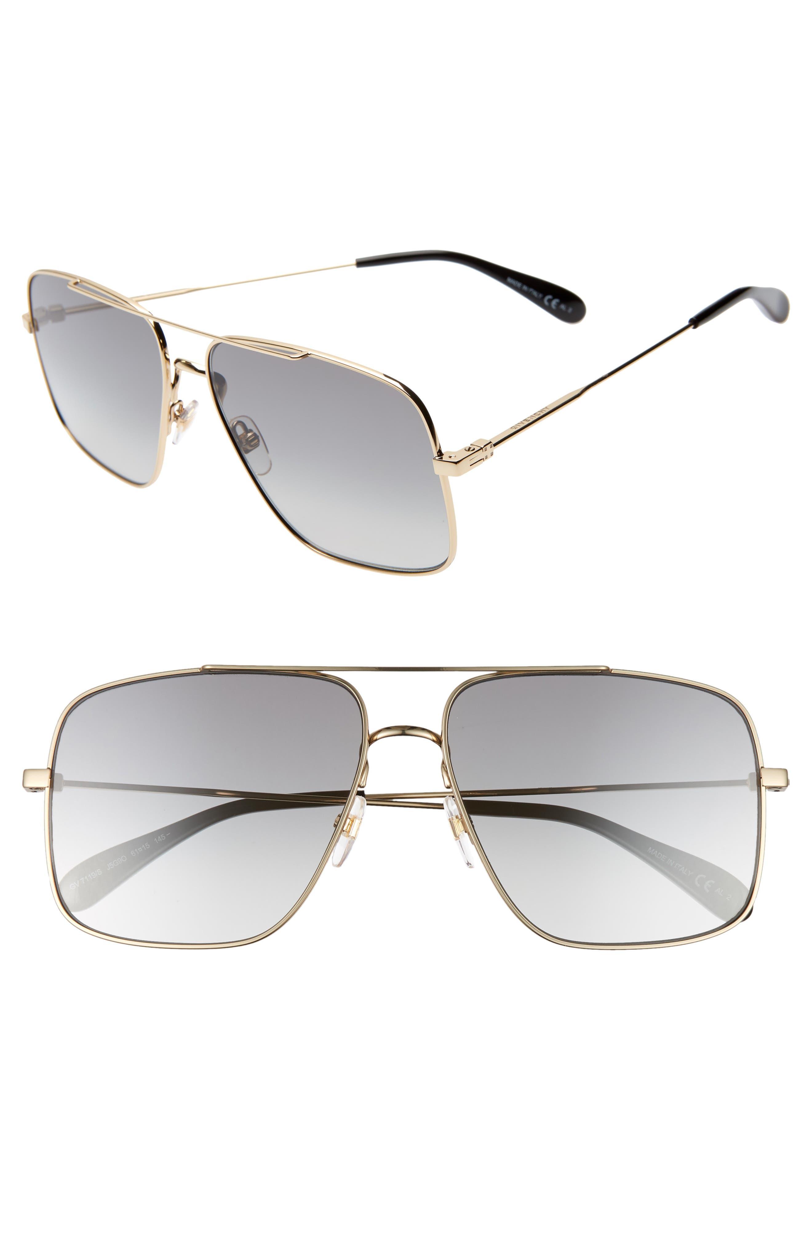 61mm Navigator Sunglasses,                             Main thumbnail 1, color,                             GOLD/ GREY