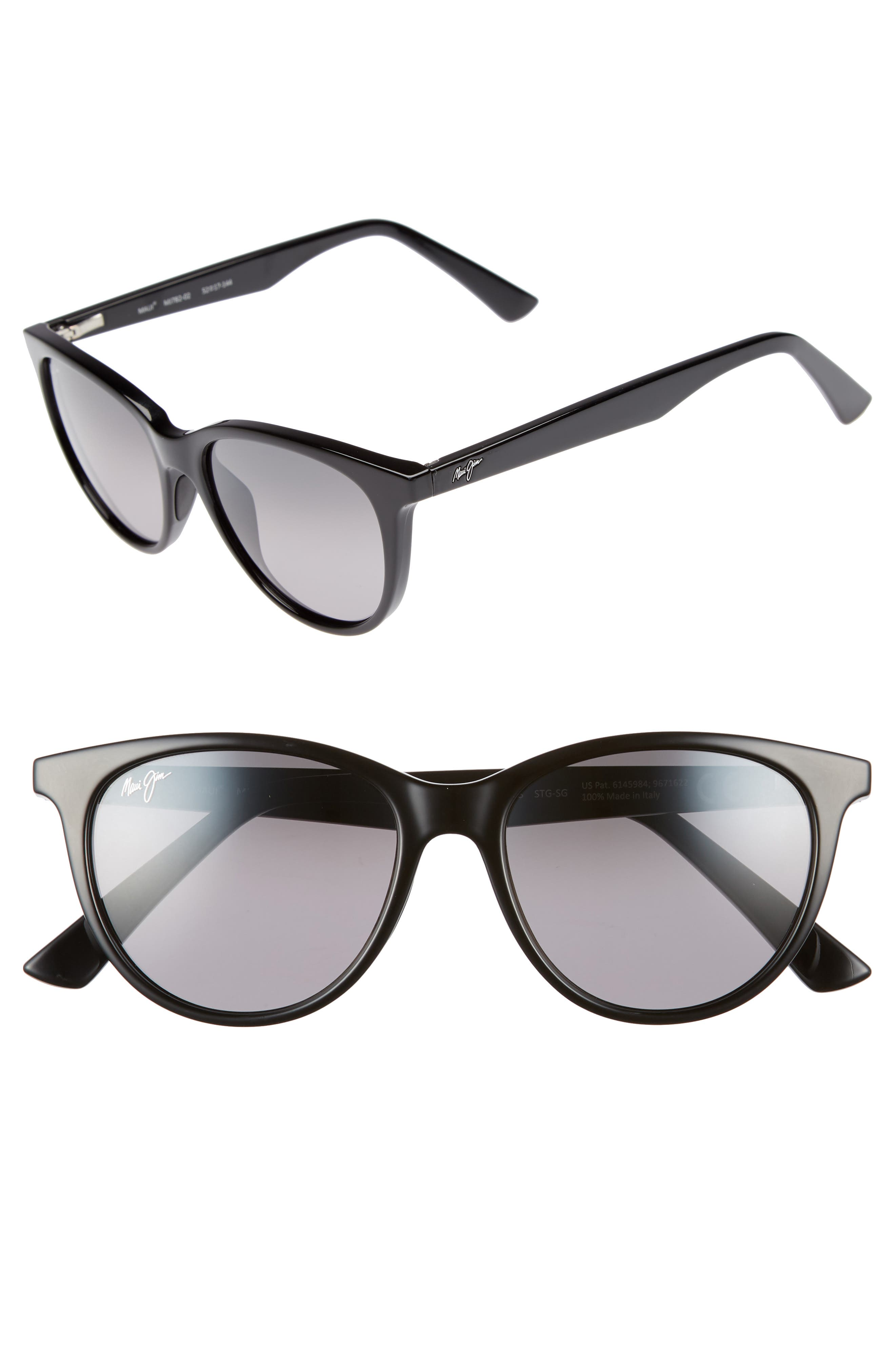 Cathedrals 52mm PolarizedPlus2<sup>®</sup> Cat Eye Sunglasses,                             Main thumbnail 1, color,                             BLACK GLOSS/ NEUTRAL GREY
