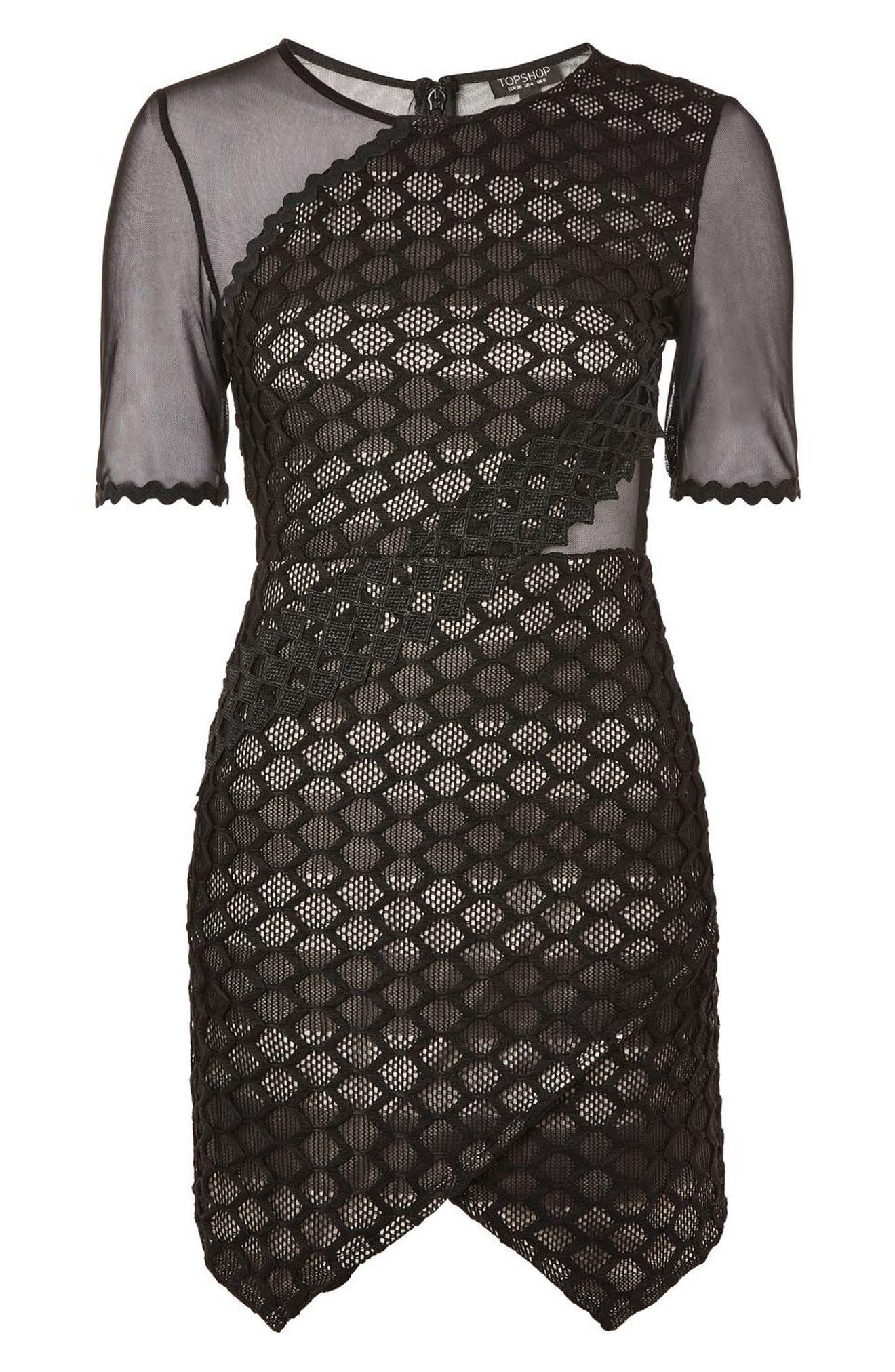 Honeycomb Airtex Wrap A-Line Dress,                             Alternate thumbnail 3, color,                             001