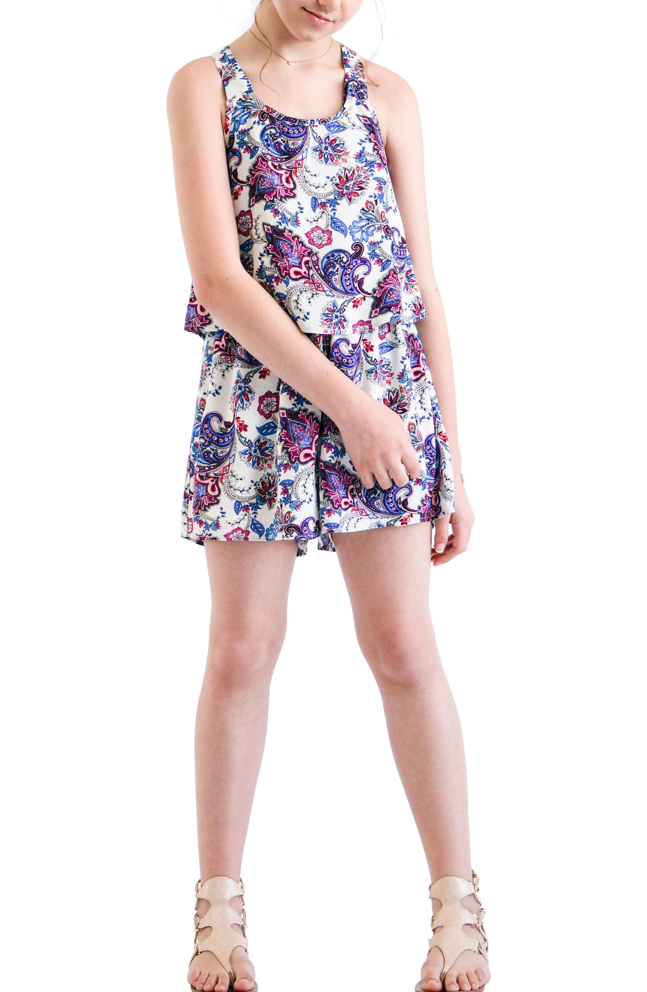 Paisley Print Popover Romper,                             Alternate thumbnail 2, color,                             460