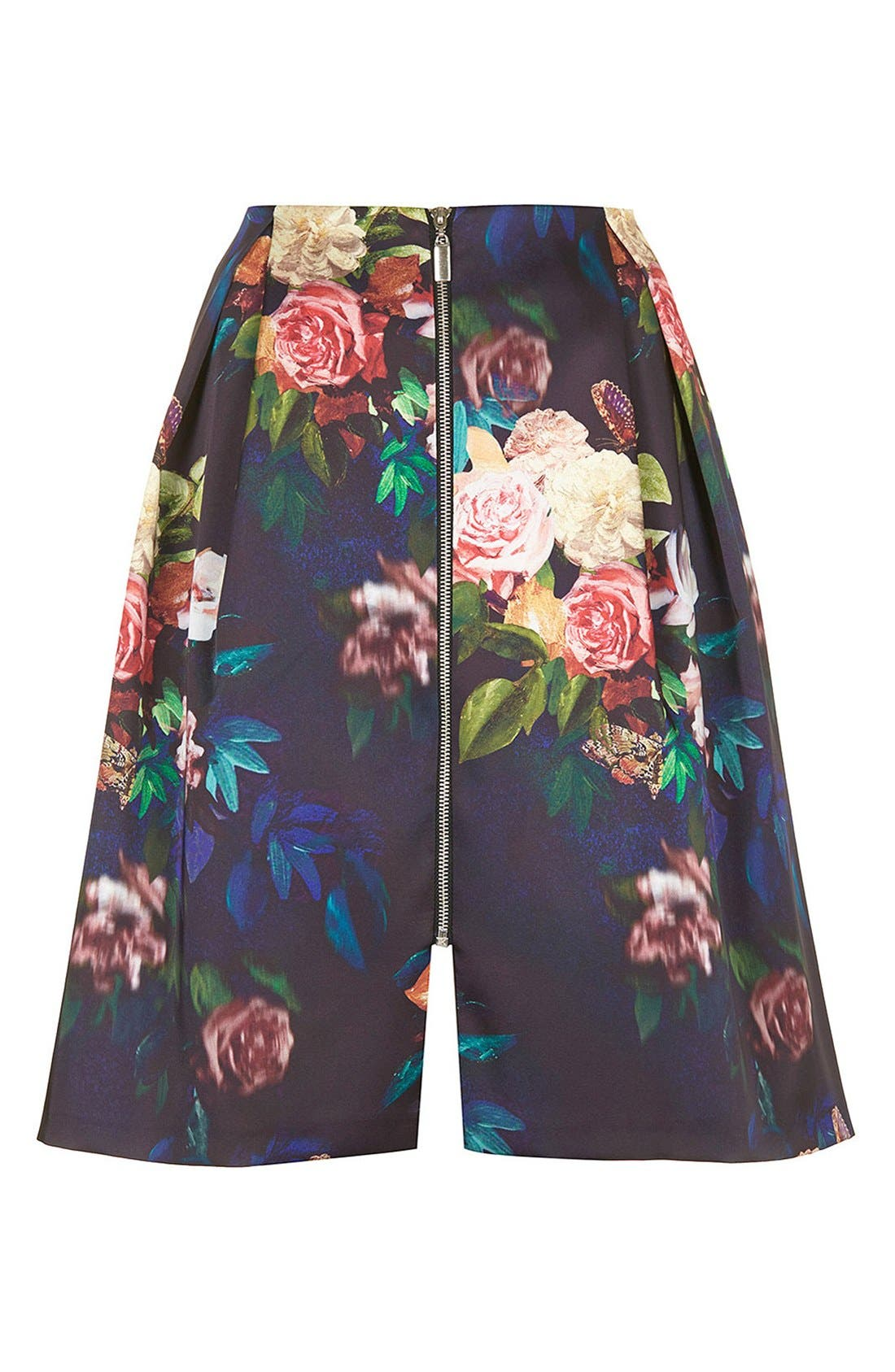 Blur Rose Print Midi Skirt,                             Alternate thumbnail 3, color,                             410