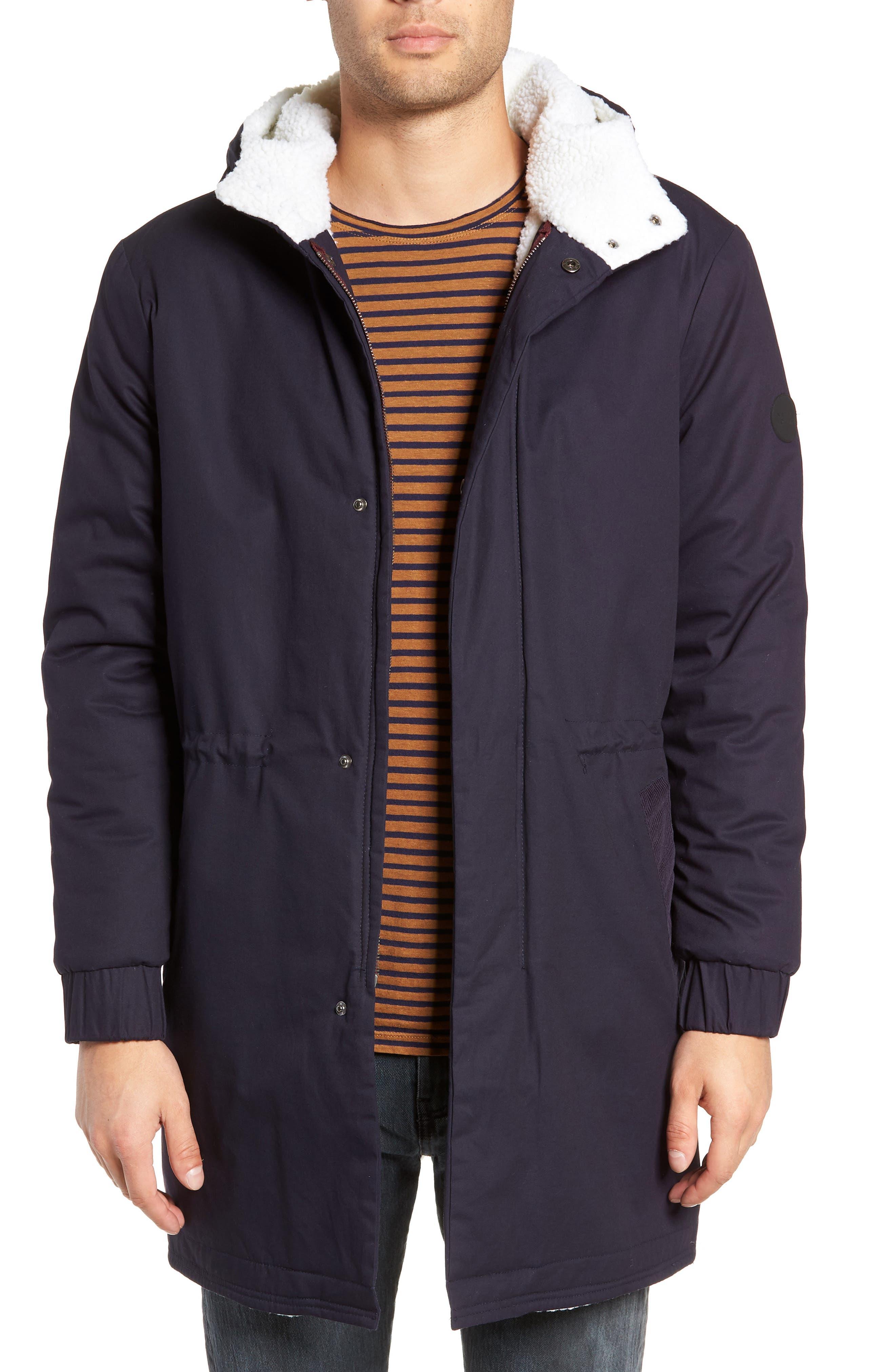 Fleece Lined Hooded Parka, Main, color, NAVY