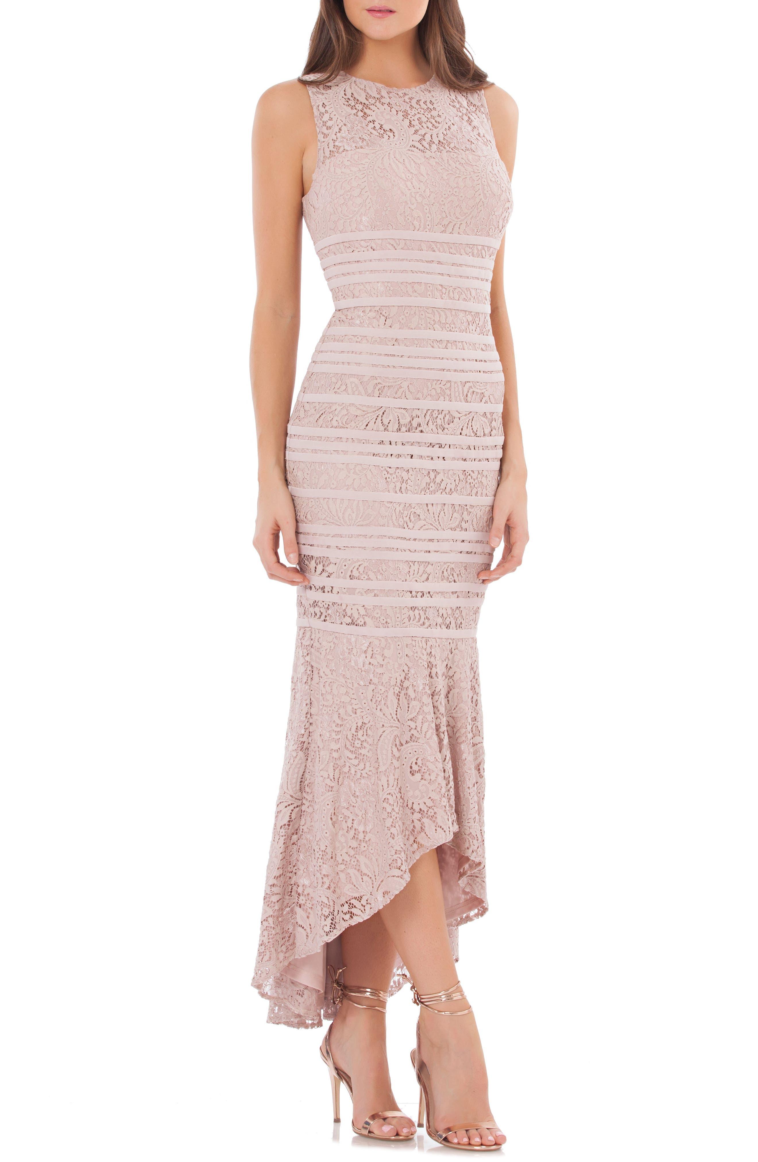 Lace High/Low Gown,                             Main thumbnail 1, color,                             BLUSH