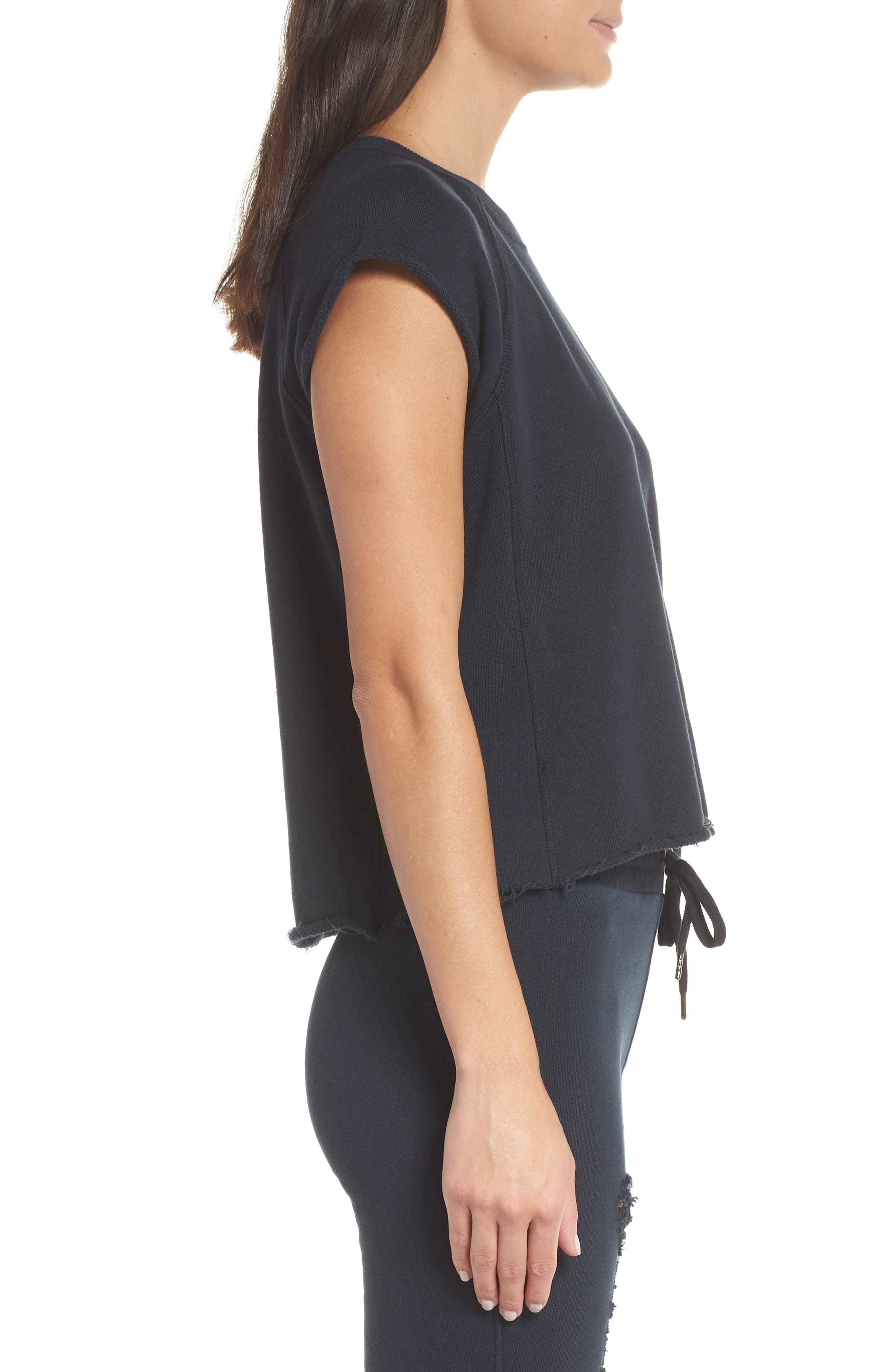 Sleeveless Raw Hem Crop Top,                             Alternate thumbnail 3, color,                             DARK NAVY