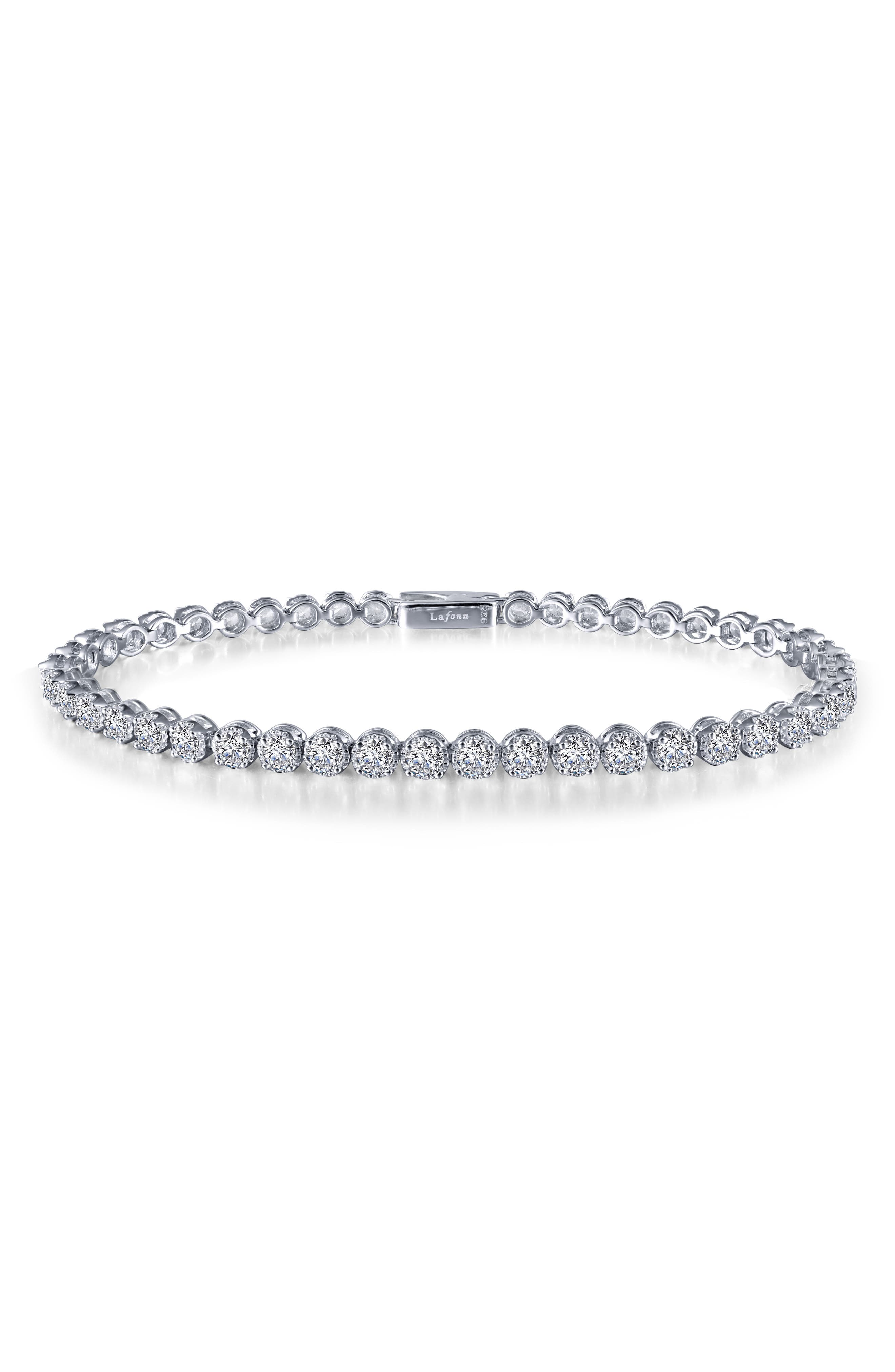 Simulated Diamond Tennis Bracelet,                             Main thumbnail 1, color,                             SILVER/ CLEAR
