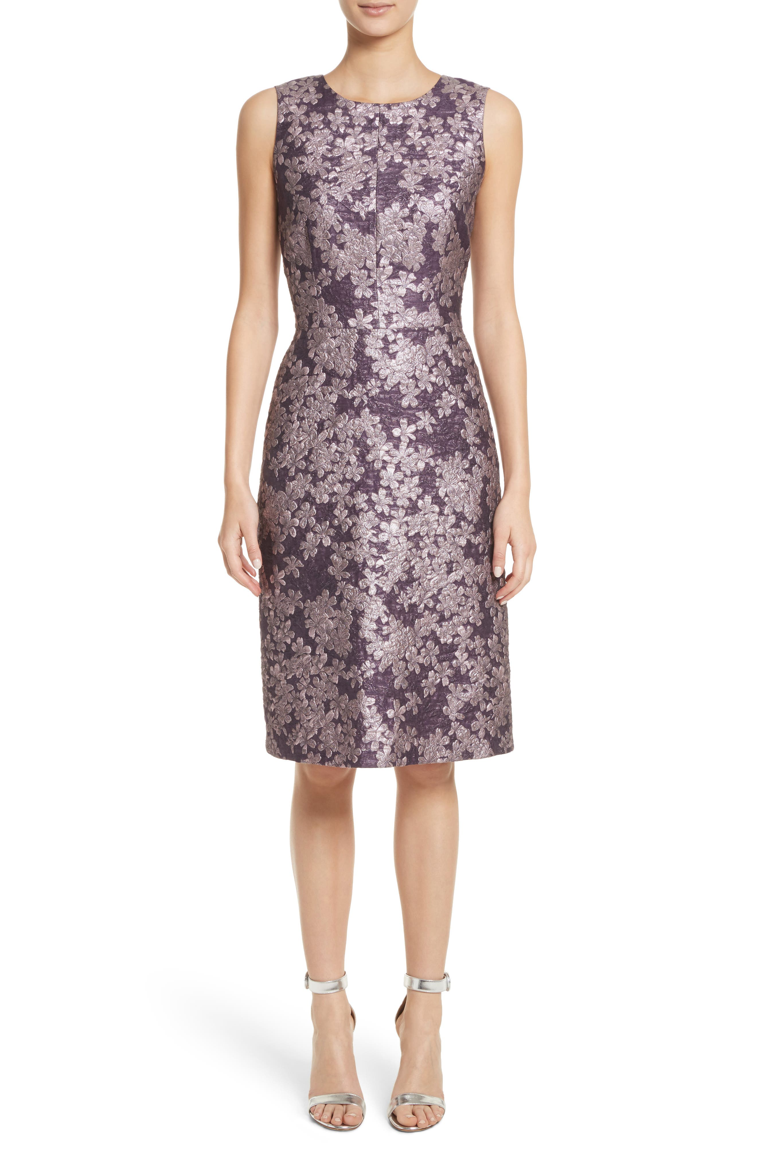 Metallic Floral Jacquard Dress,                             Main thumbnail 1, color,                             560