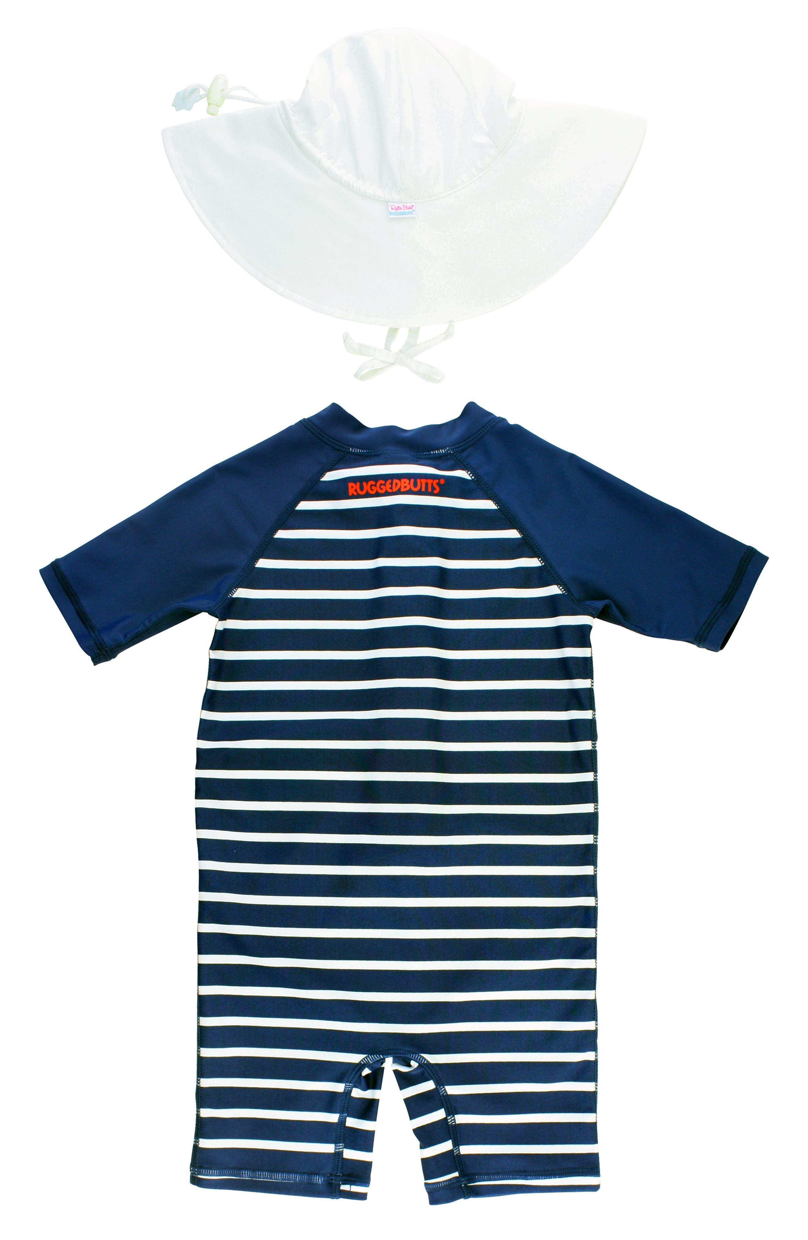 Rashguard Swimsuit & Hat Set,                             Alternate thumbnail 2, color,                             BLUE