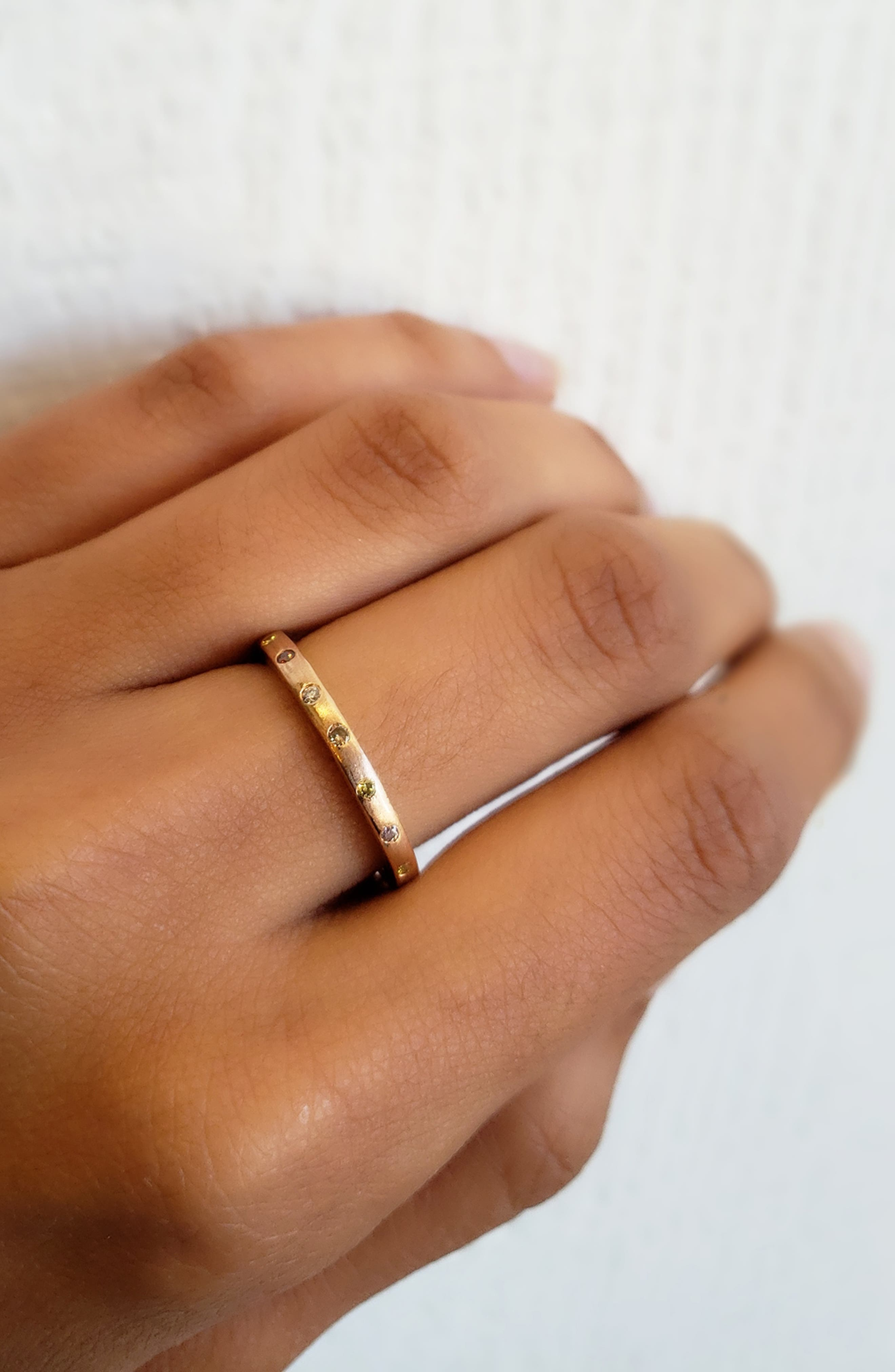 Dunes Diamond Stacking Band Ring,                             Alternate thumbnail 2, color,                             ROSE GOLD/ DIAMOND