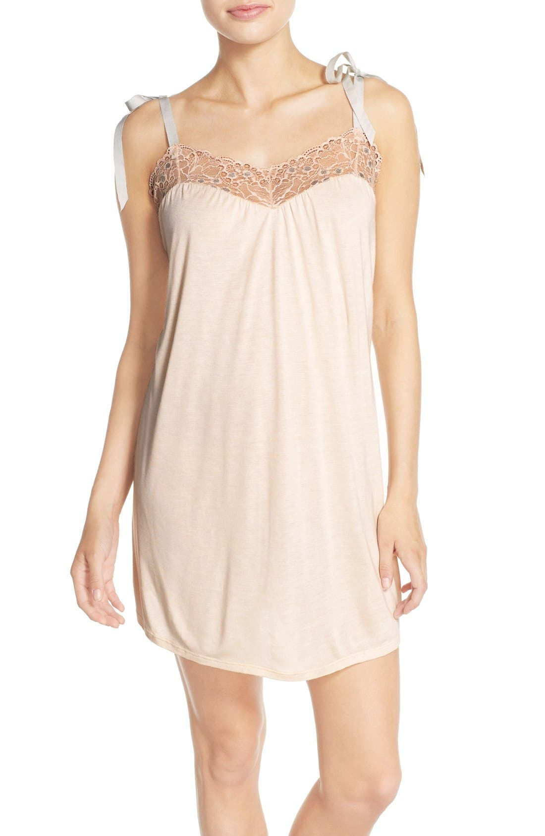 'Piper' Lace Trim Jersey Babydoll,                             Main thumbnail 1, color,                             681