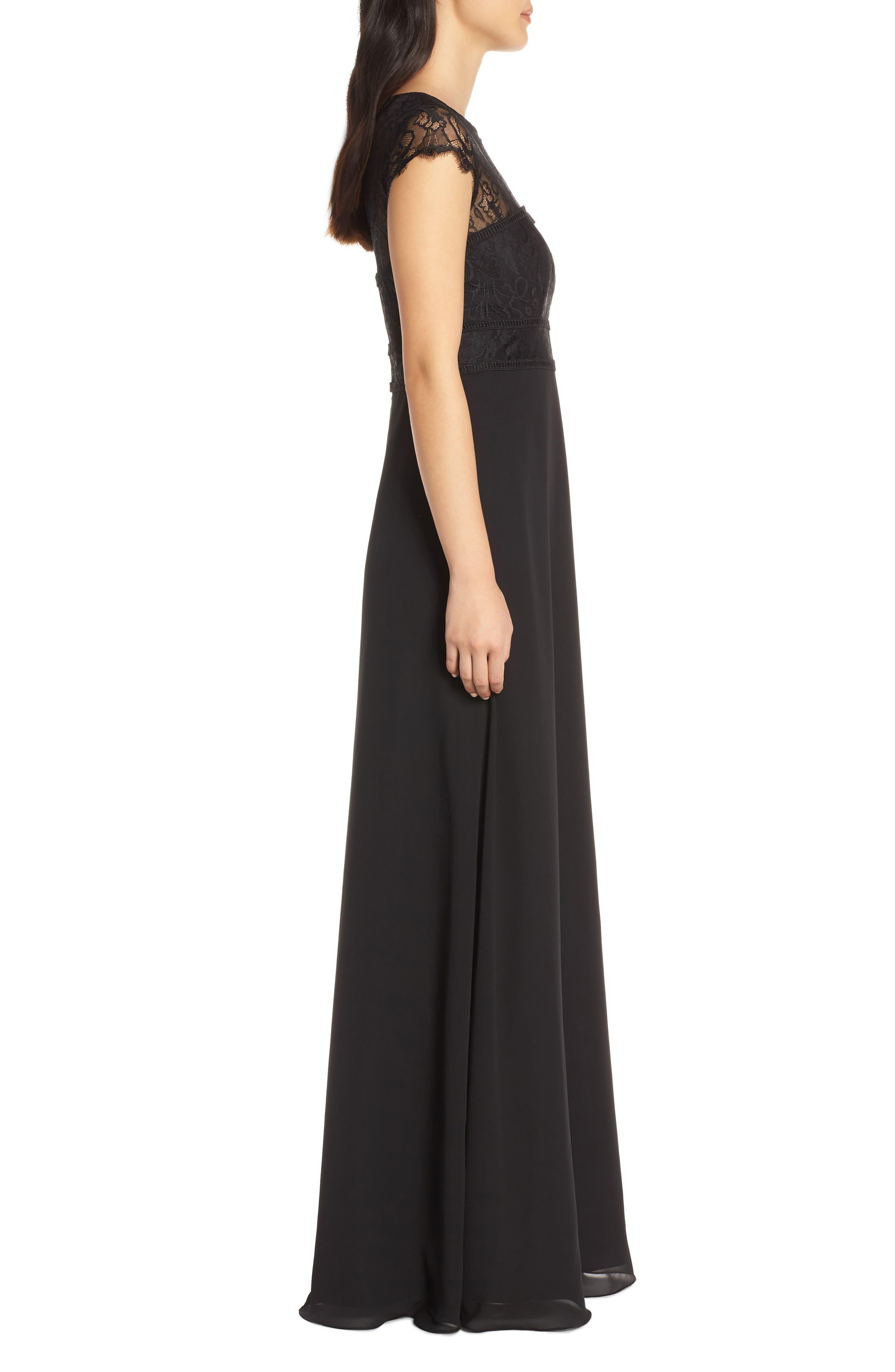 HAYLEY PAIGE OCCASIONS,                             Lace Bodice Chiffon Evening Dress,                             Alternate thumbnail 3, color,                             BLACK / BLACK