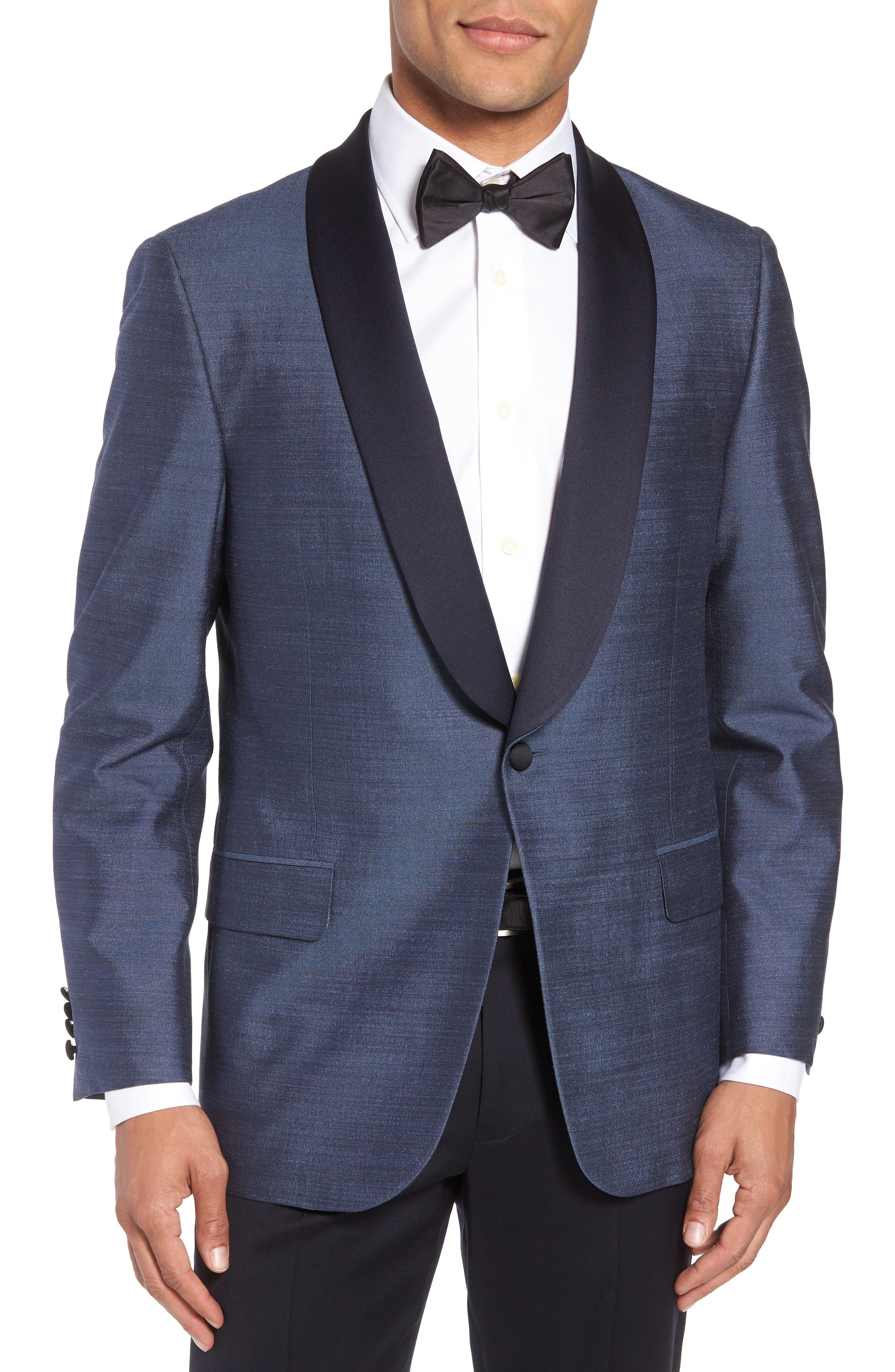 Classic B Fit Silk Dinner Jacket,                             Main thumbnail 1, color,                             SLATE BLUE SOLID