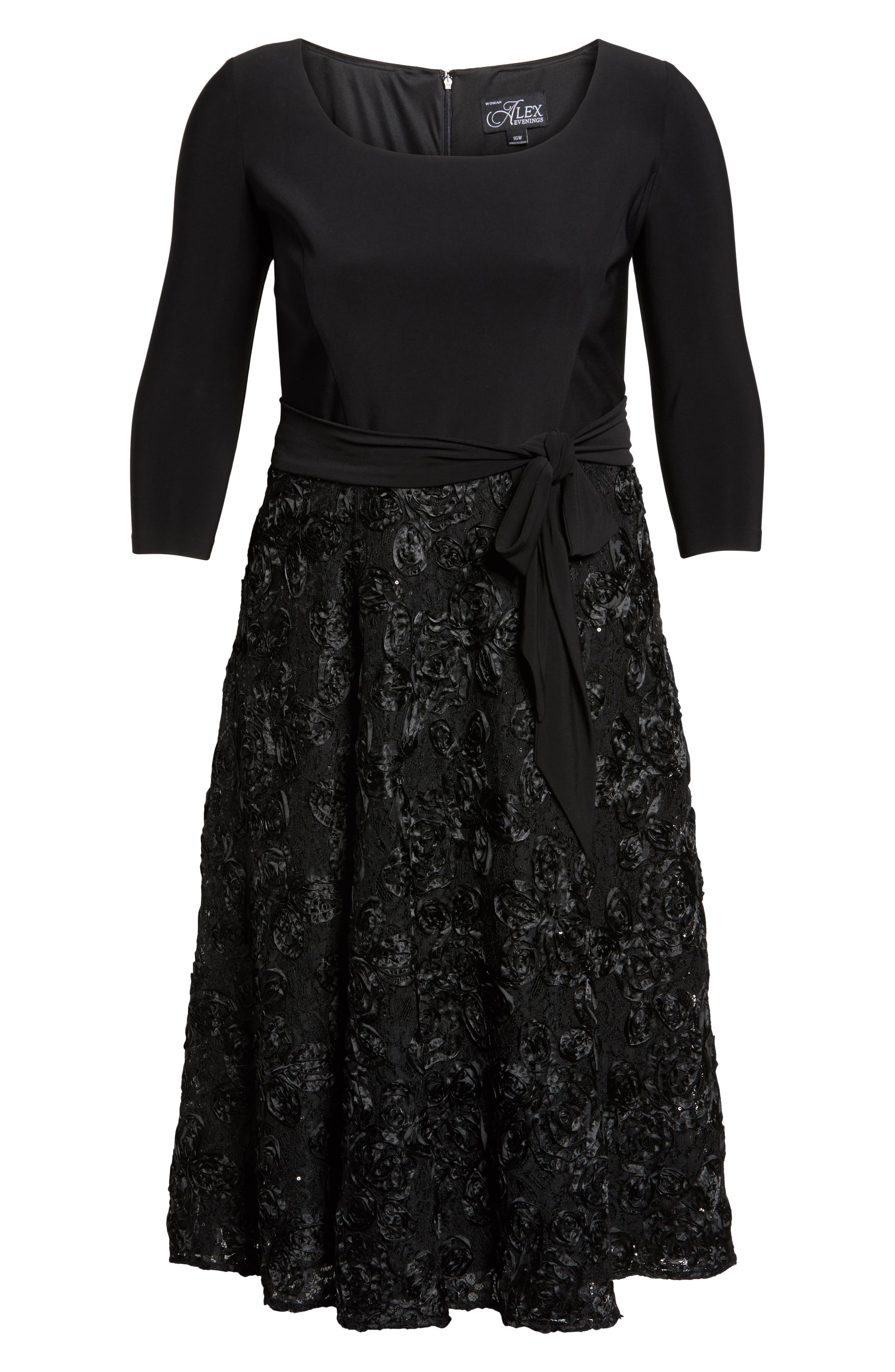 Tea Length Jersey & Rosette Lace Dress,                             Alternate thumbnail 11, color,