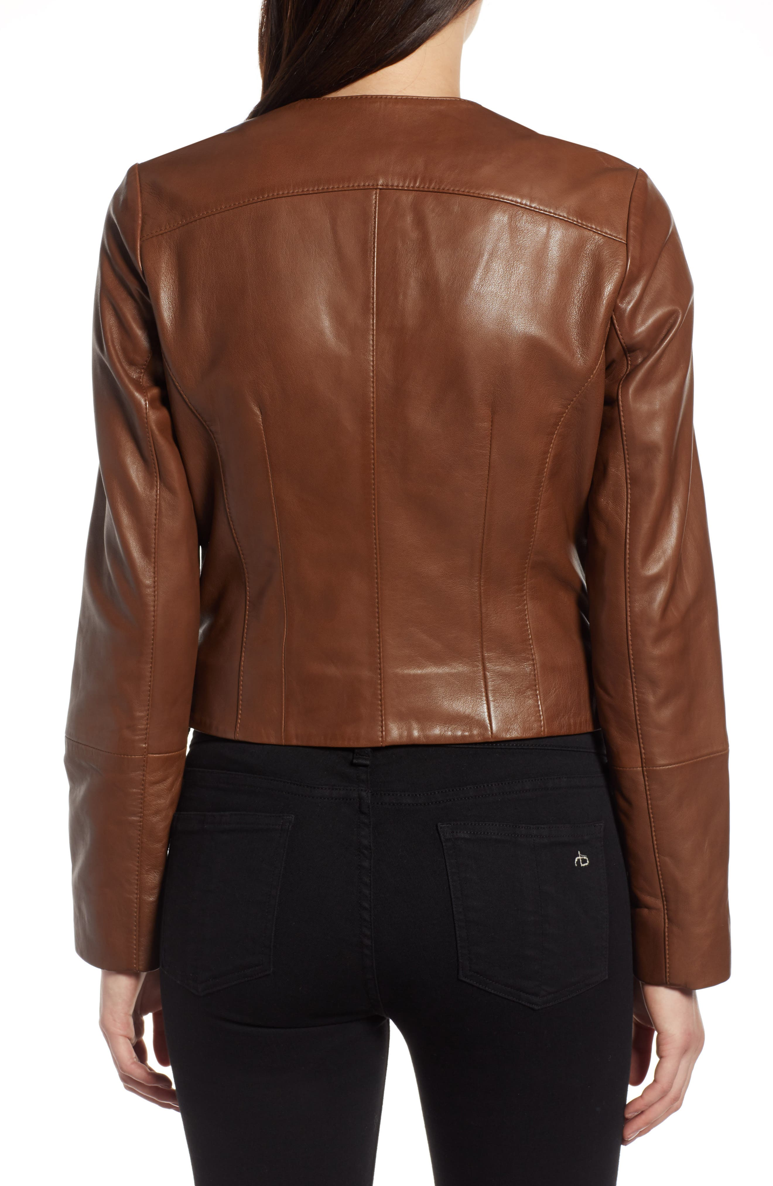 Collarless Leather Jacket,                             Alternate thumbnail 2, color,                             230