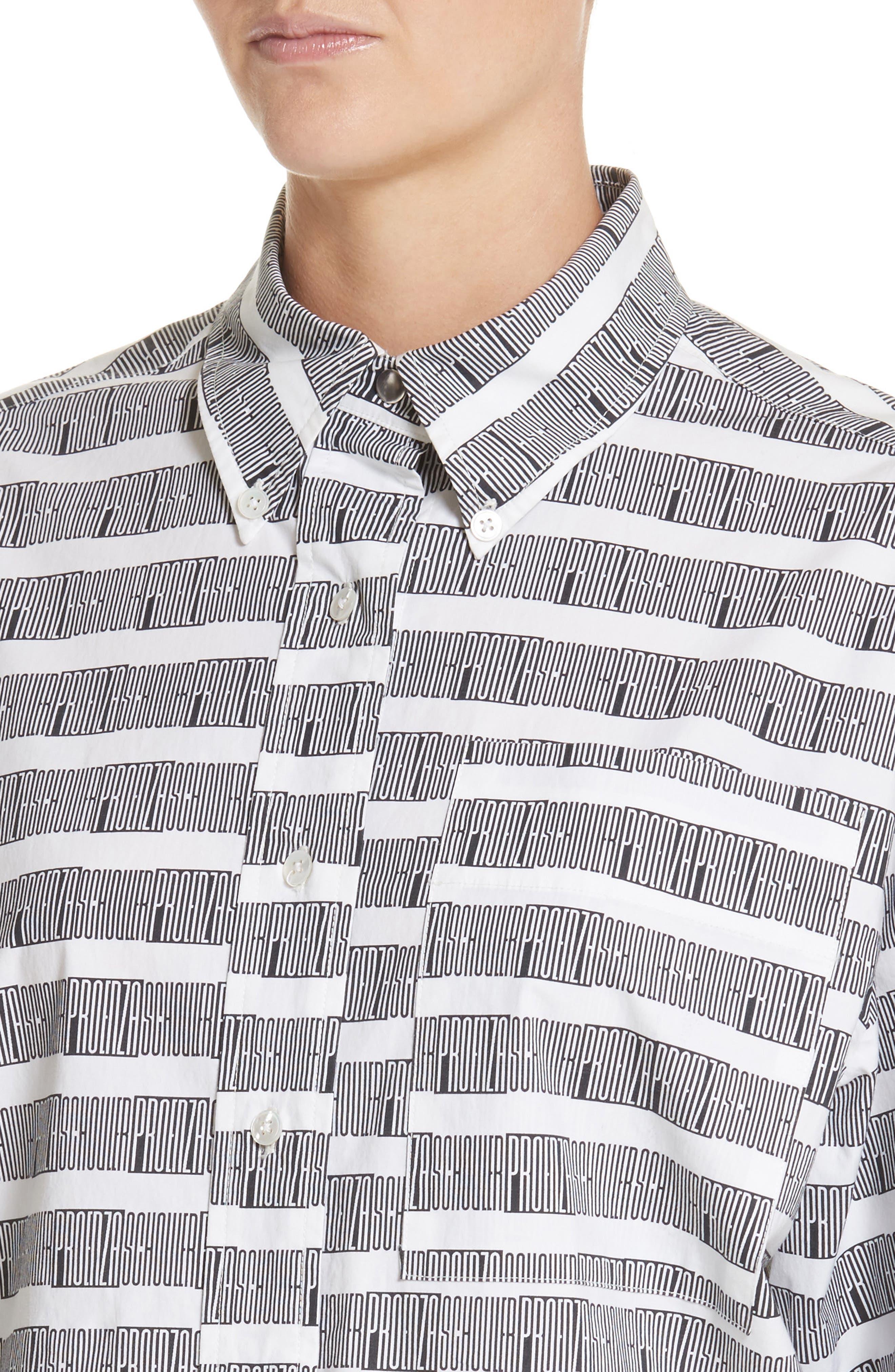 PSWL Graphic Stripe Cotton Top,                             Alternate thumbnail 4, color,                             001