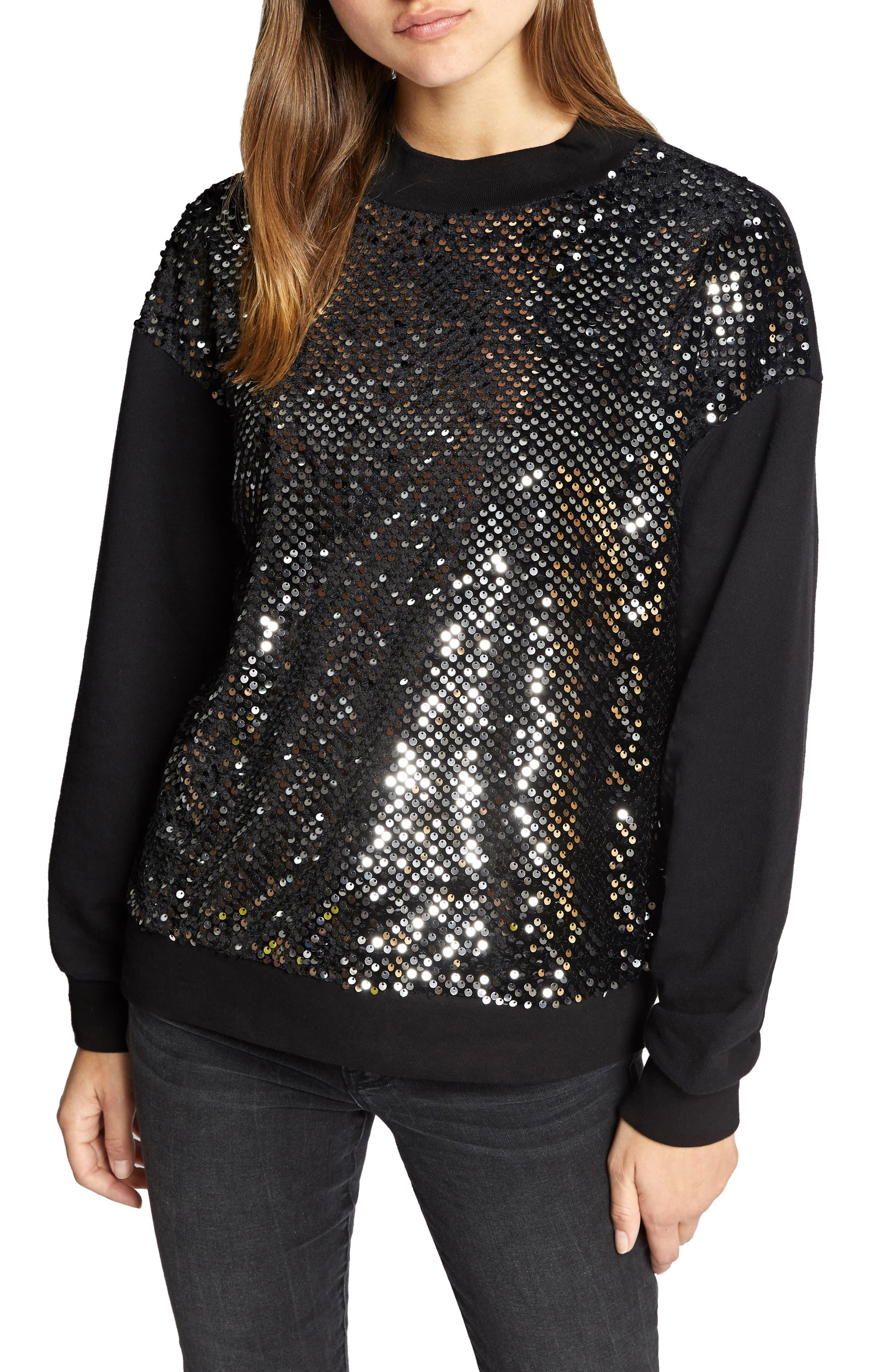 Last Dance Sequin Sweatshirt,                             Main thumbnail 1, color,                             BLACK/ SILVER