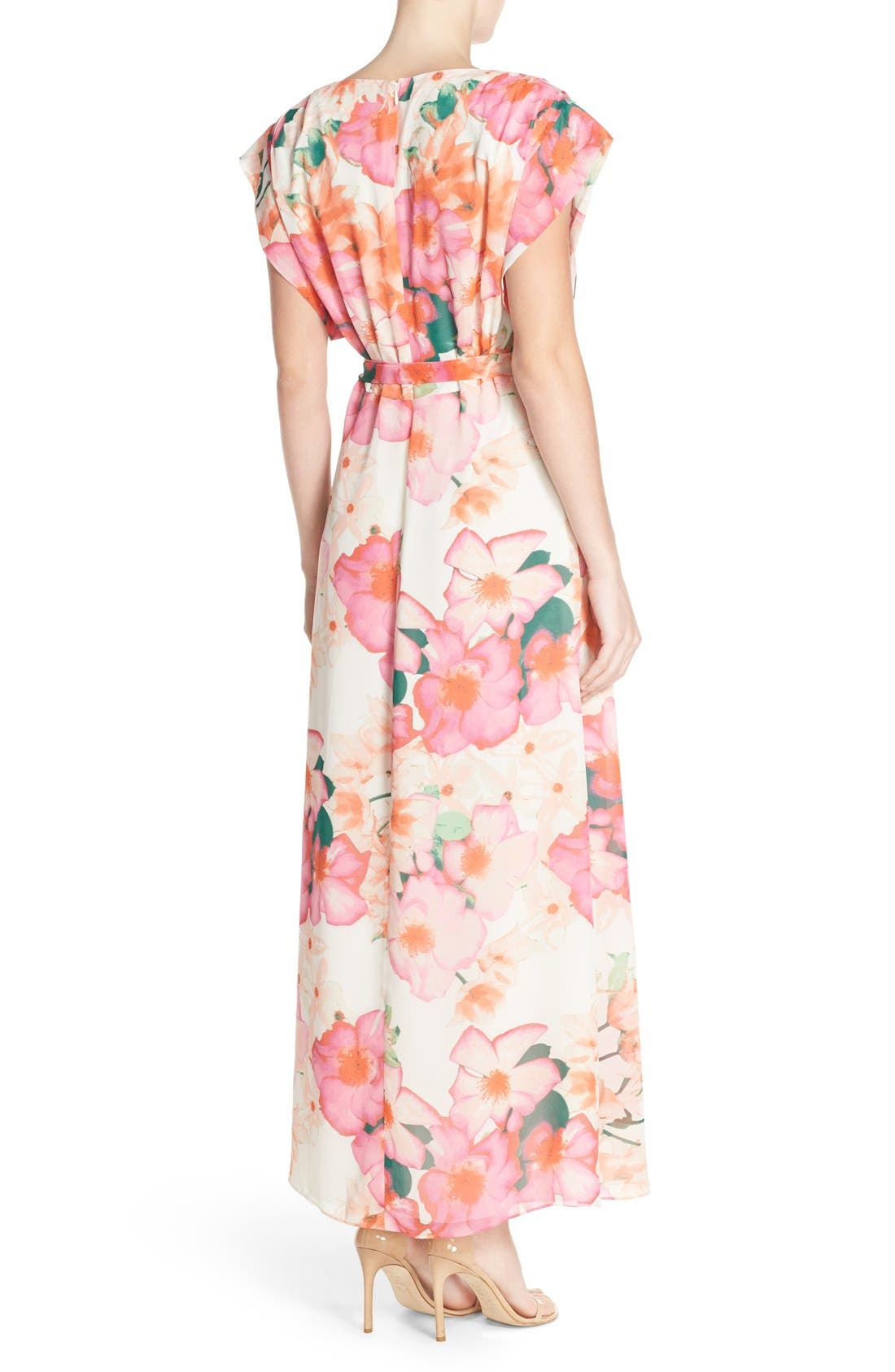 Floral Print Gown,                             Alternate thumbnail 5, color,                             653