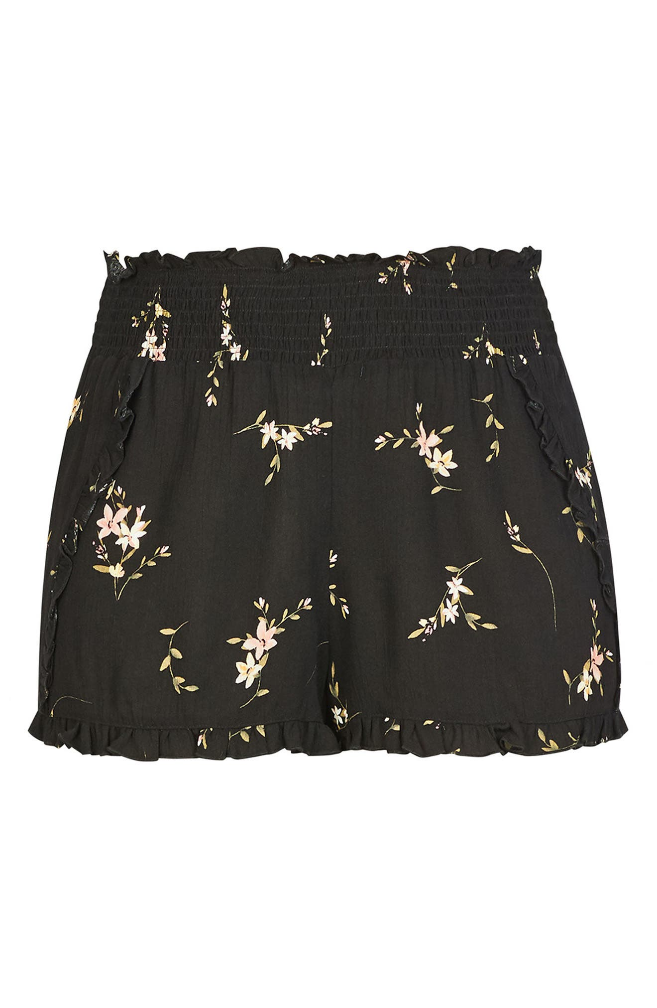 Aerial Floral Pull-On Shorts,                             Alternate thumbnail 4, color,                             002