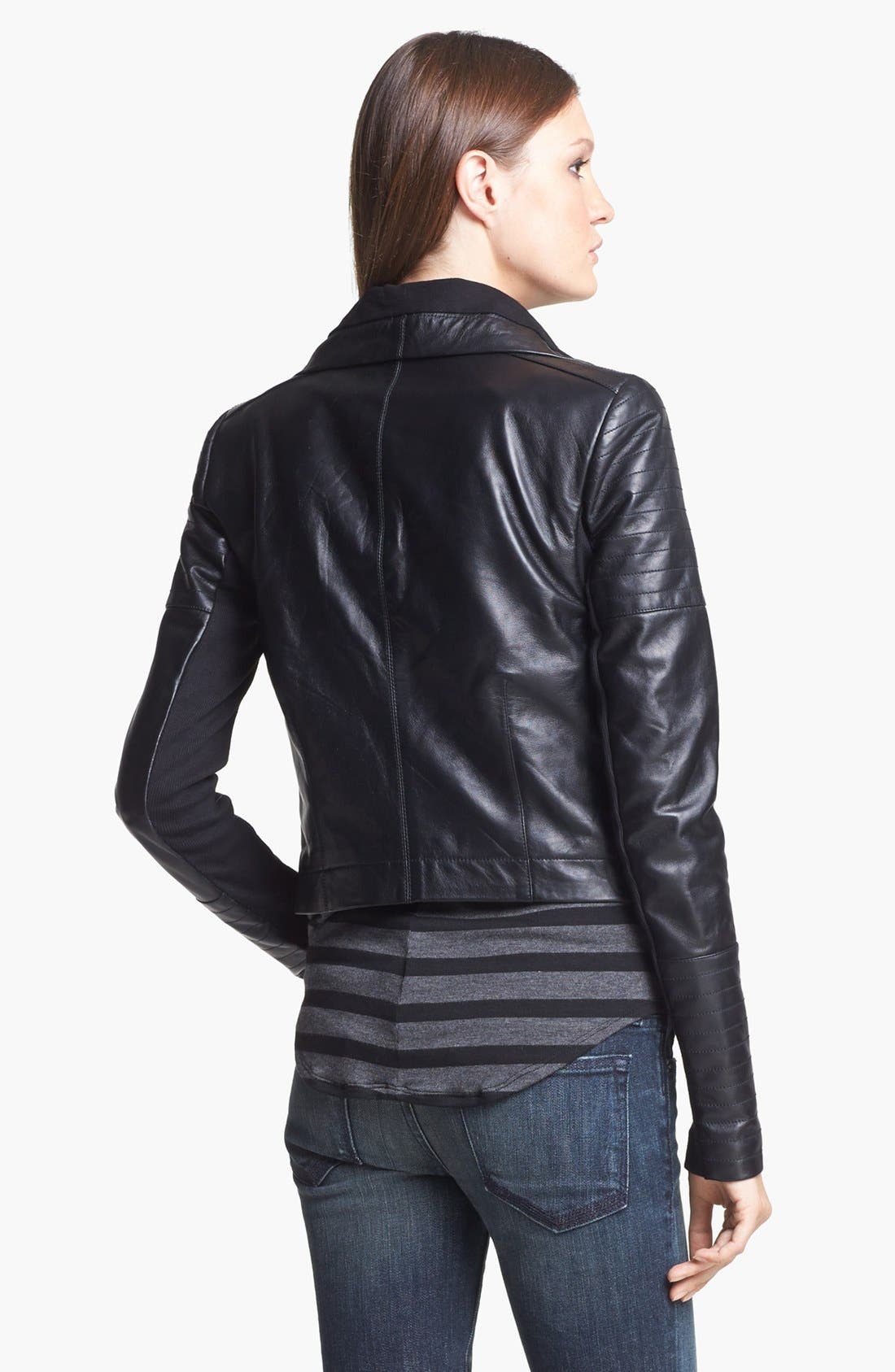 VEDA,                             'Max' Leather Moto Jacket,                             Alternate thumbnail 3, color,                             001