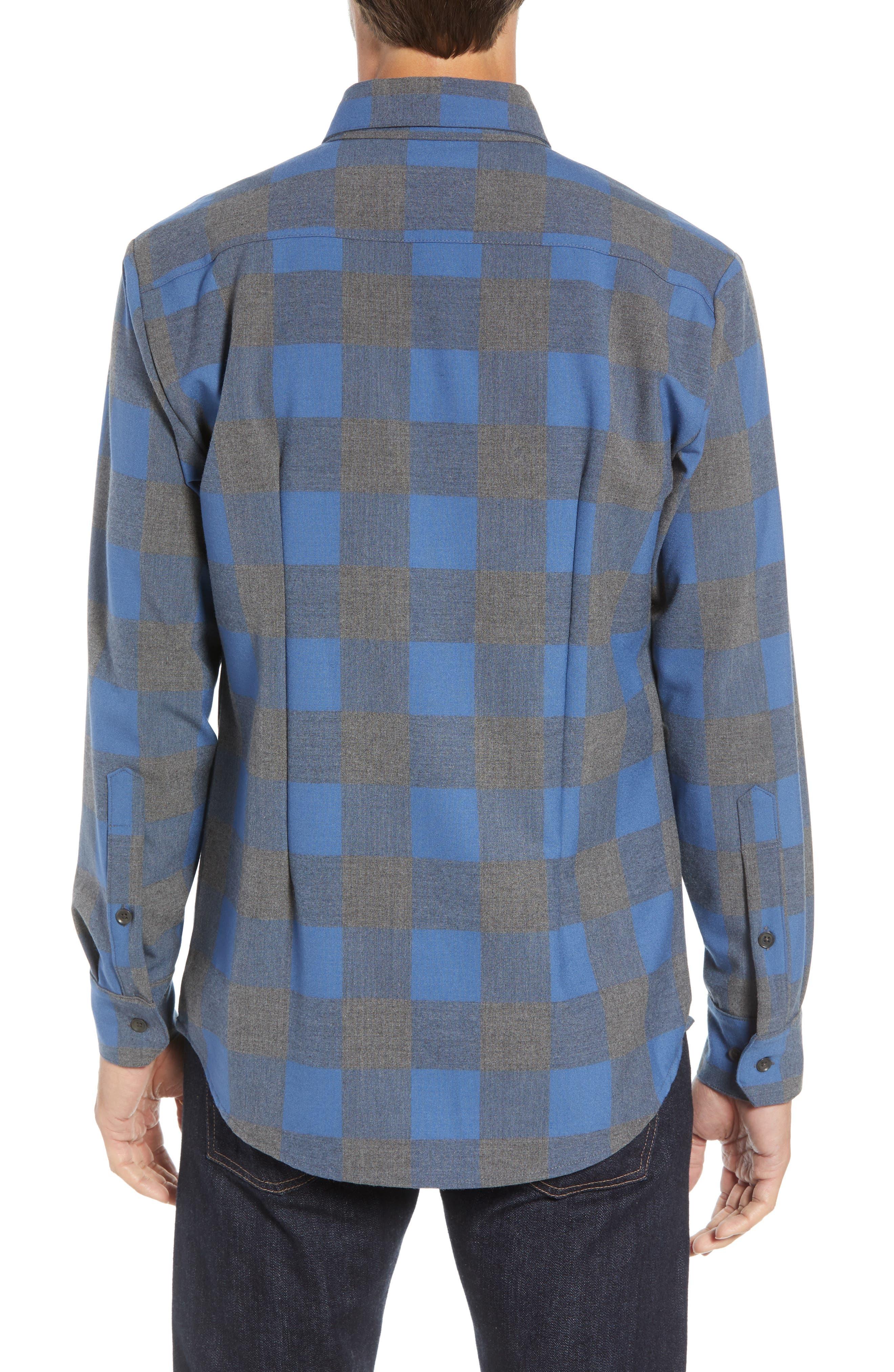 Sierra Regular Fit Flannel Sport Shirt,                             Alternate thumbnail 3, color,                             GREY