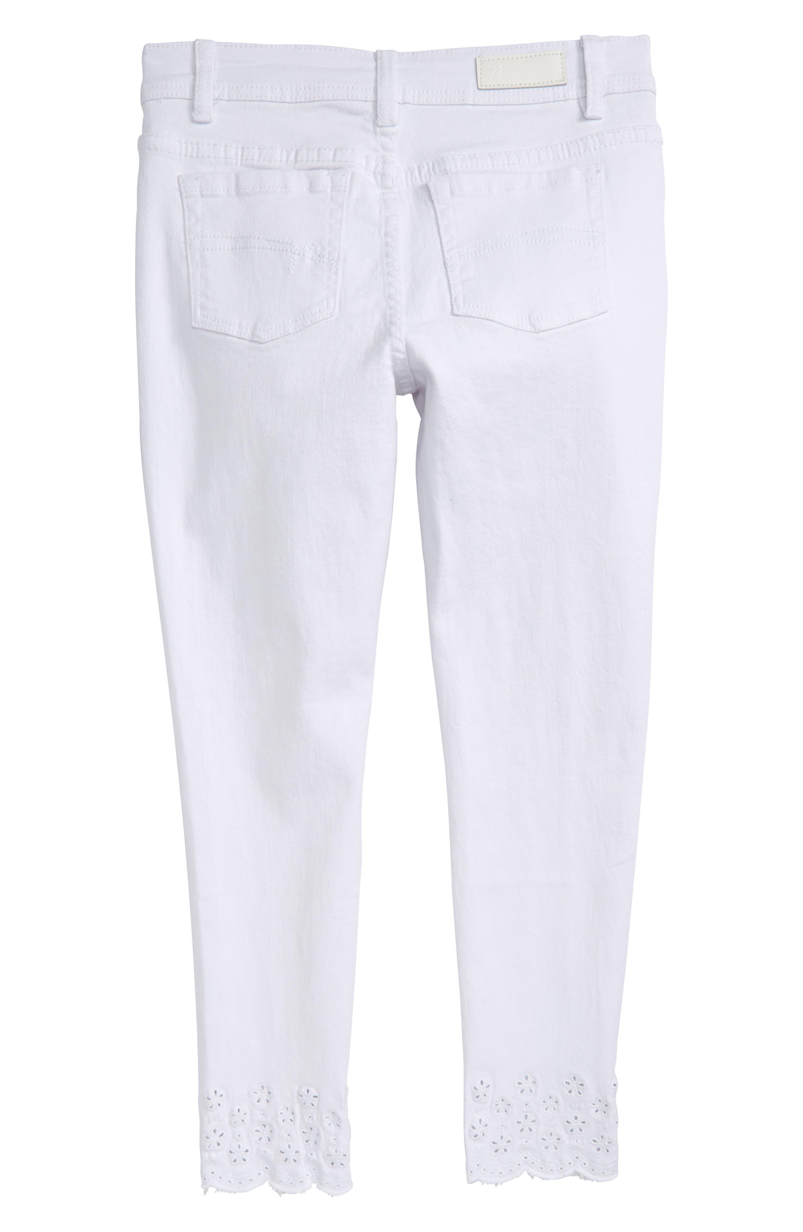 Broderie Anglaise Hem Skinny Jeans,                             Alternate thumbnail 2, color,                             100