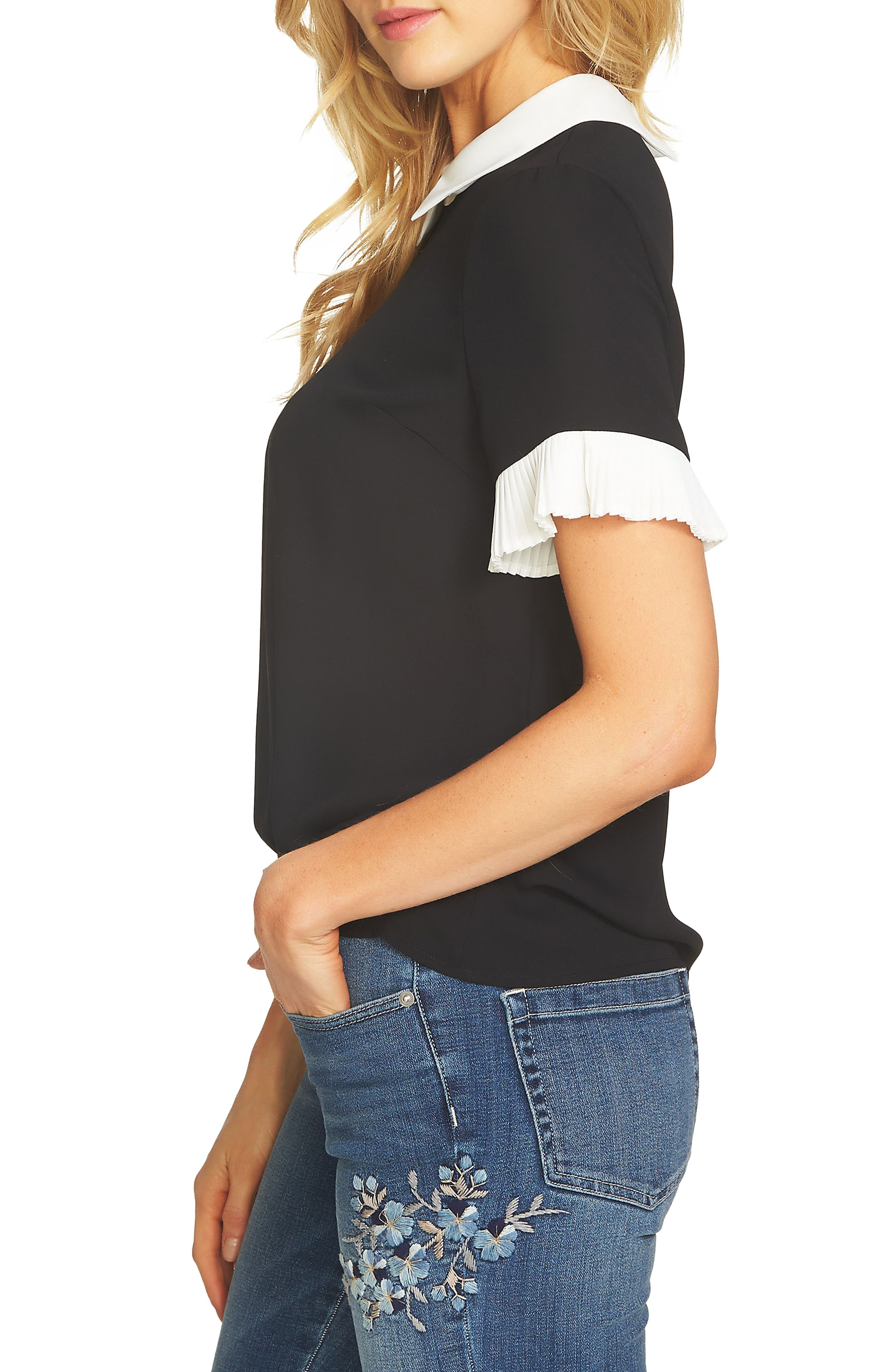 Pleat Sleeve Collared Crepe Blouse,                             Alternate thumbnail 3, color,                             RICH BLACK