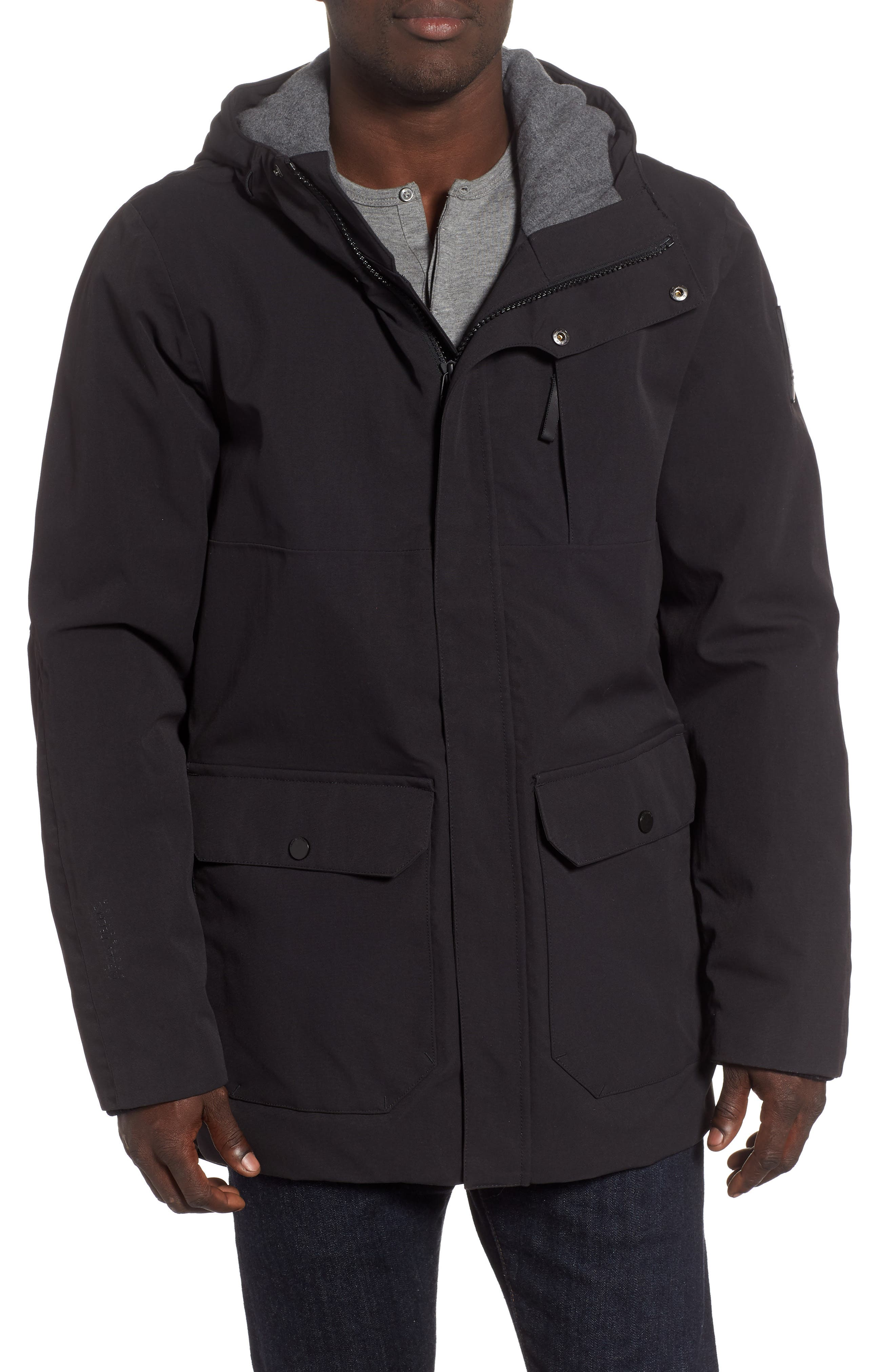 Urban Windproof & Waterproof Primaloft<sup>®</sup> Long Jacket,                             Main thumbnail 1, color,                             BLACK