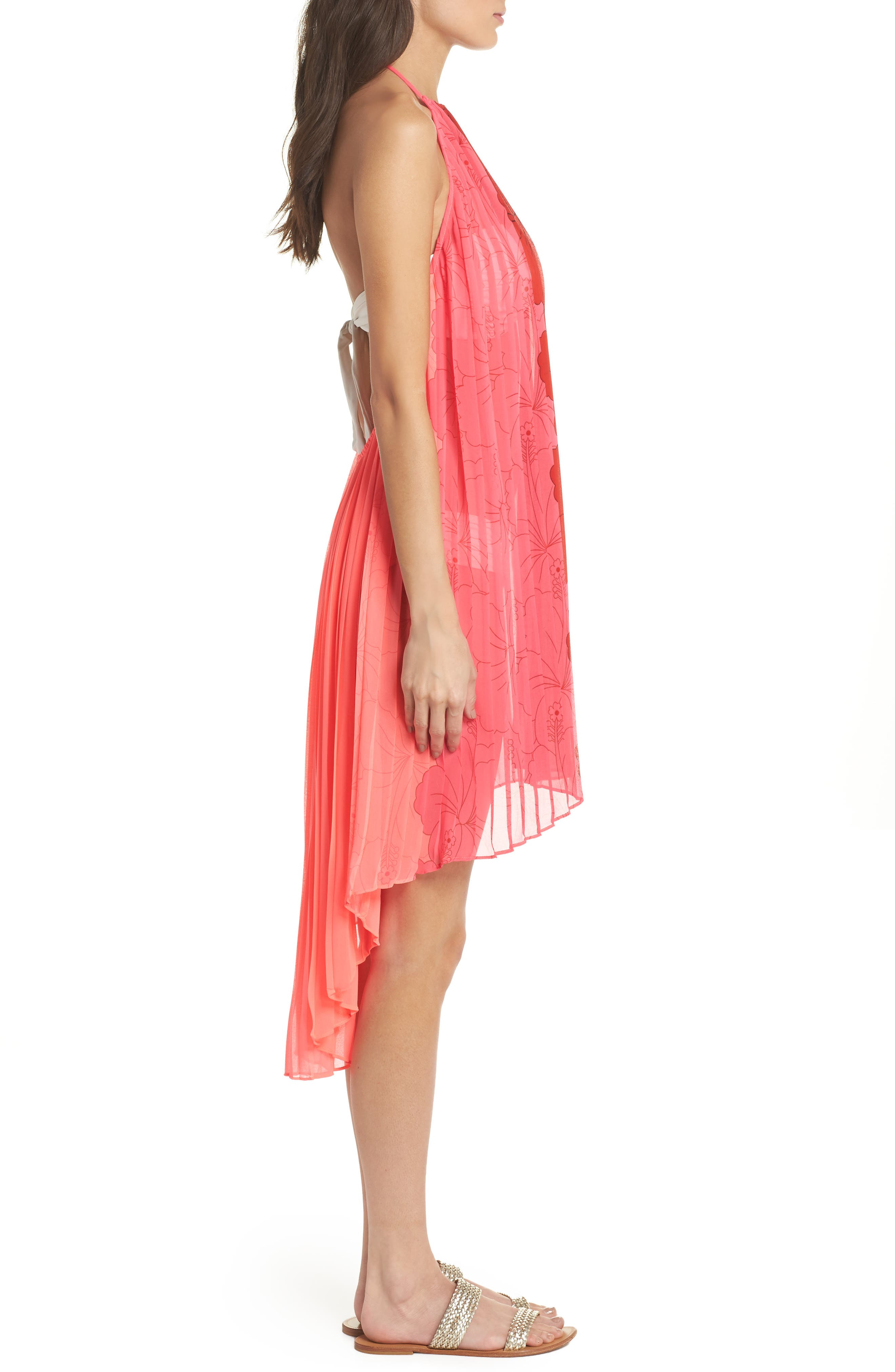 Happiness Pleated Cover-Up,                             Alternate thumbnail 3, color,                             NEON PINK