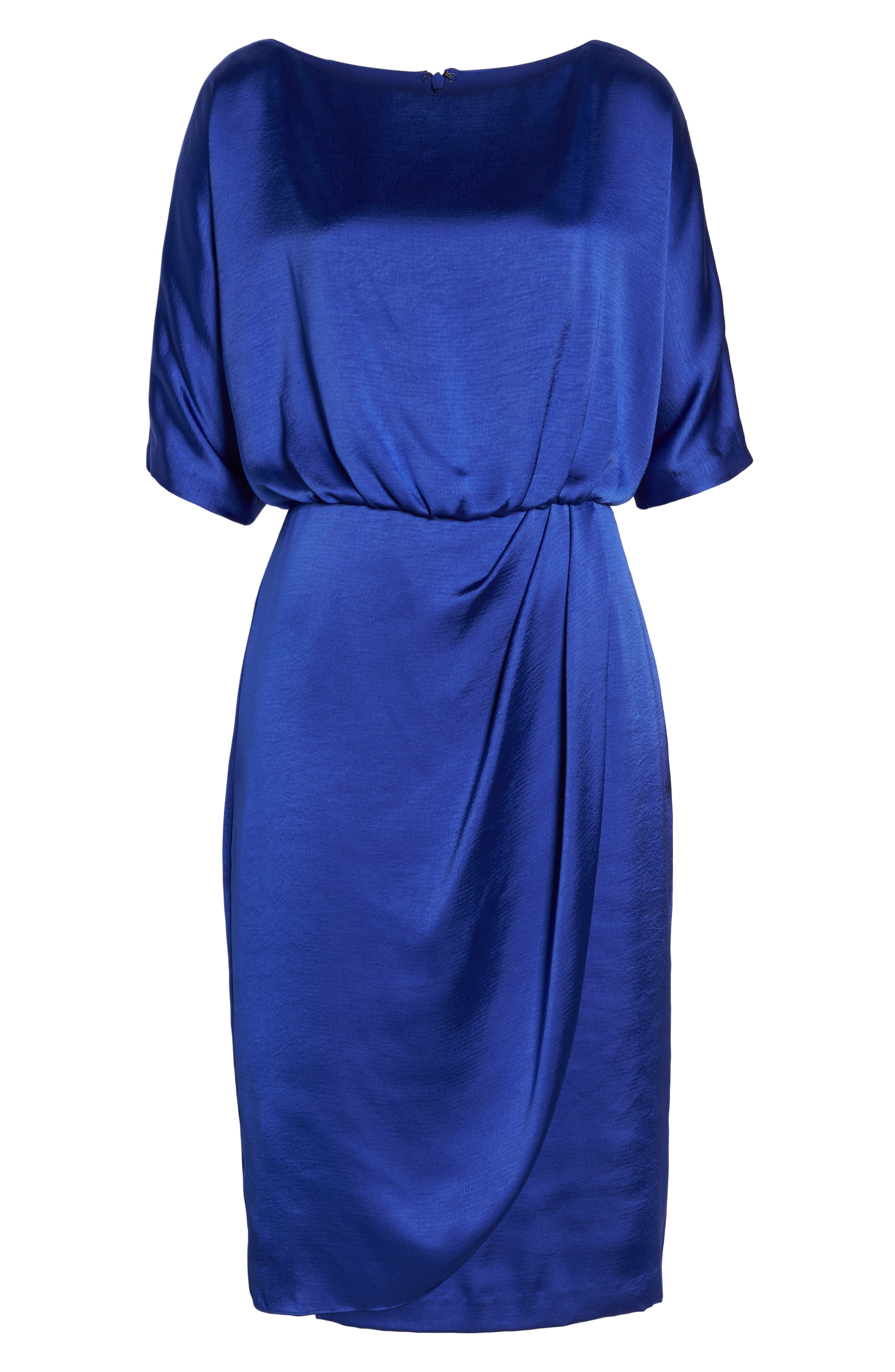 Draped Blouson Dress,                             Alternate thumbnail 7, color,                             EMPIRE BLUE