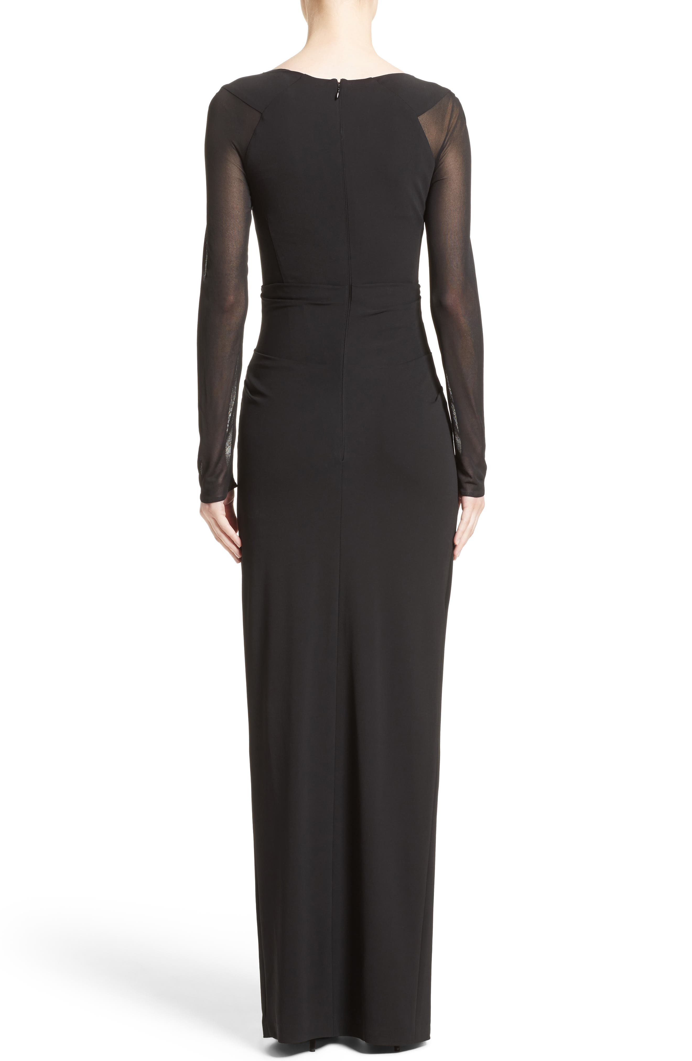 Sheer Sleeve Jersey Column Gown,                             Alternate thumbnail 2, color,                             001